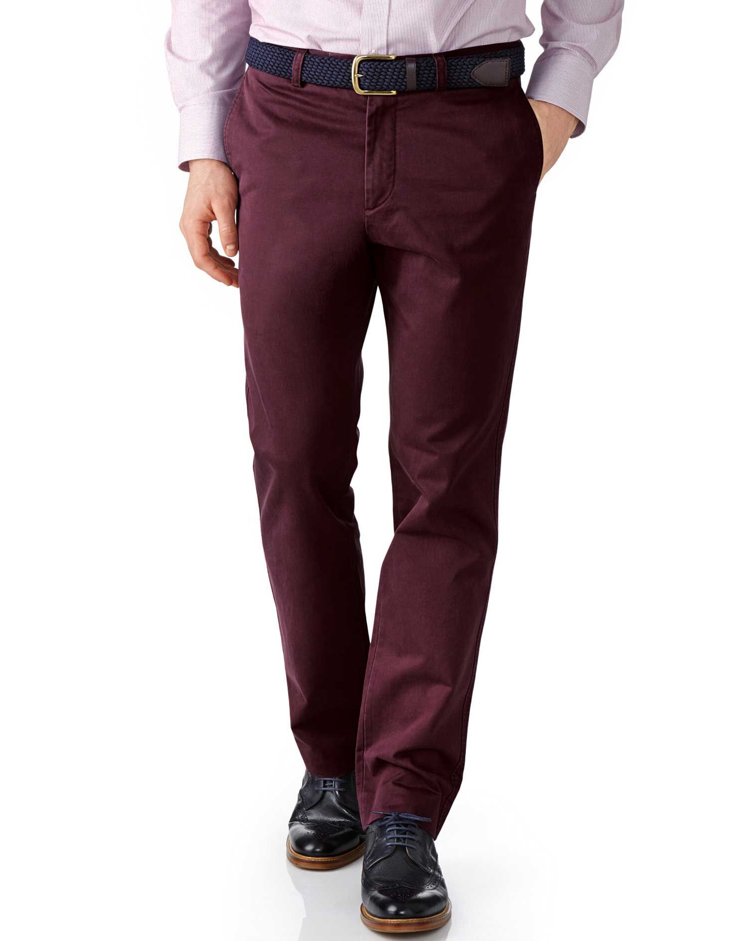Charles Tyrwhitt Wine Slim Fit Flat Front Cotton Chino Pants Size W32 L34