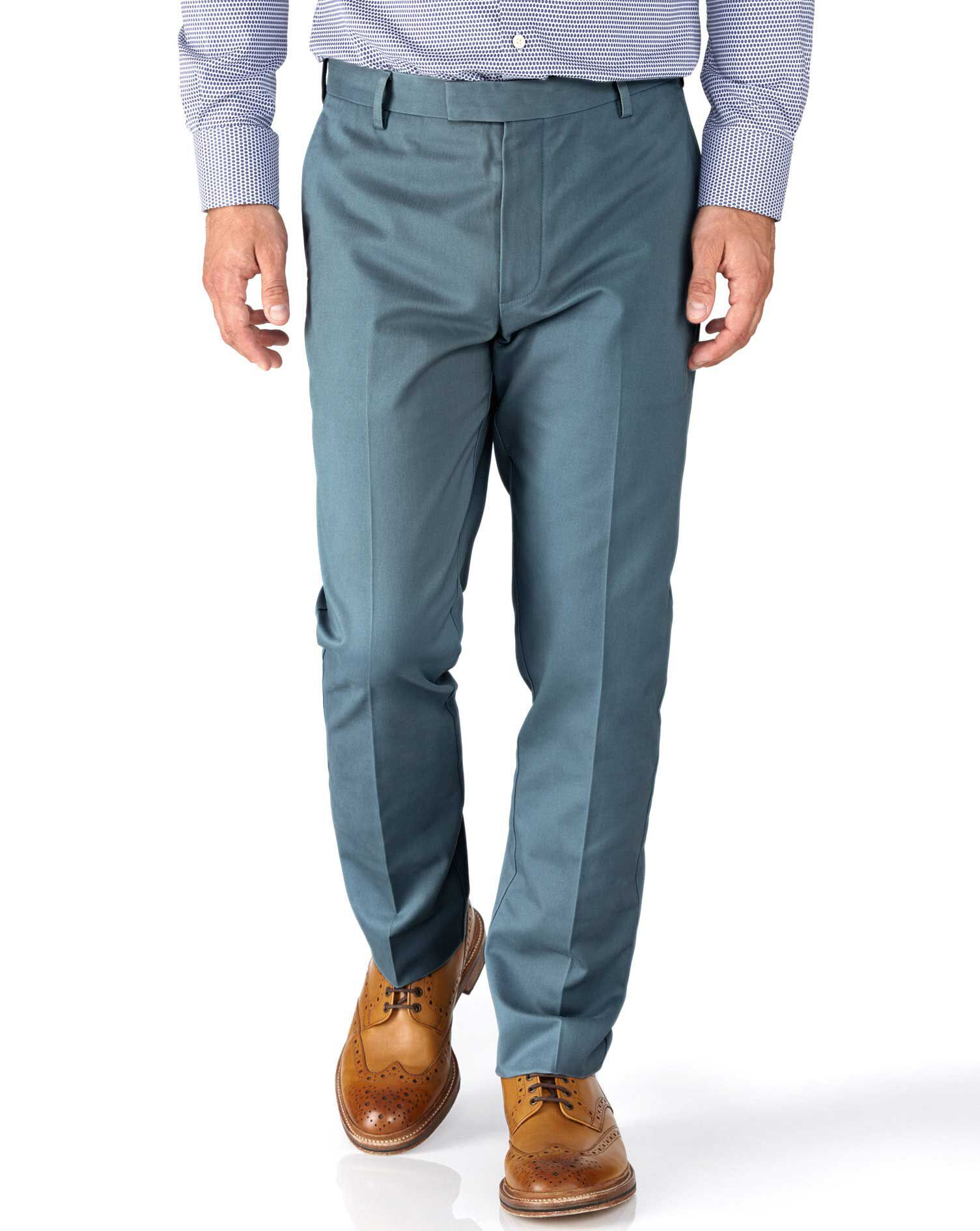 Airforce Blue Slim Fit Flat Front Non-Iron Cotton Chino Trousers Size W34 L30 by Charles Tyrwhitt