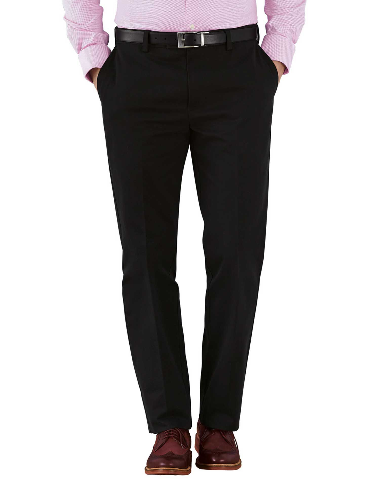 Black Slim Fit Flat Front Non-Iron Cotton Chino Trousers Size W36 L29 by Charles Tyrwhitt