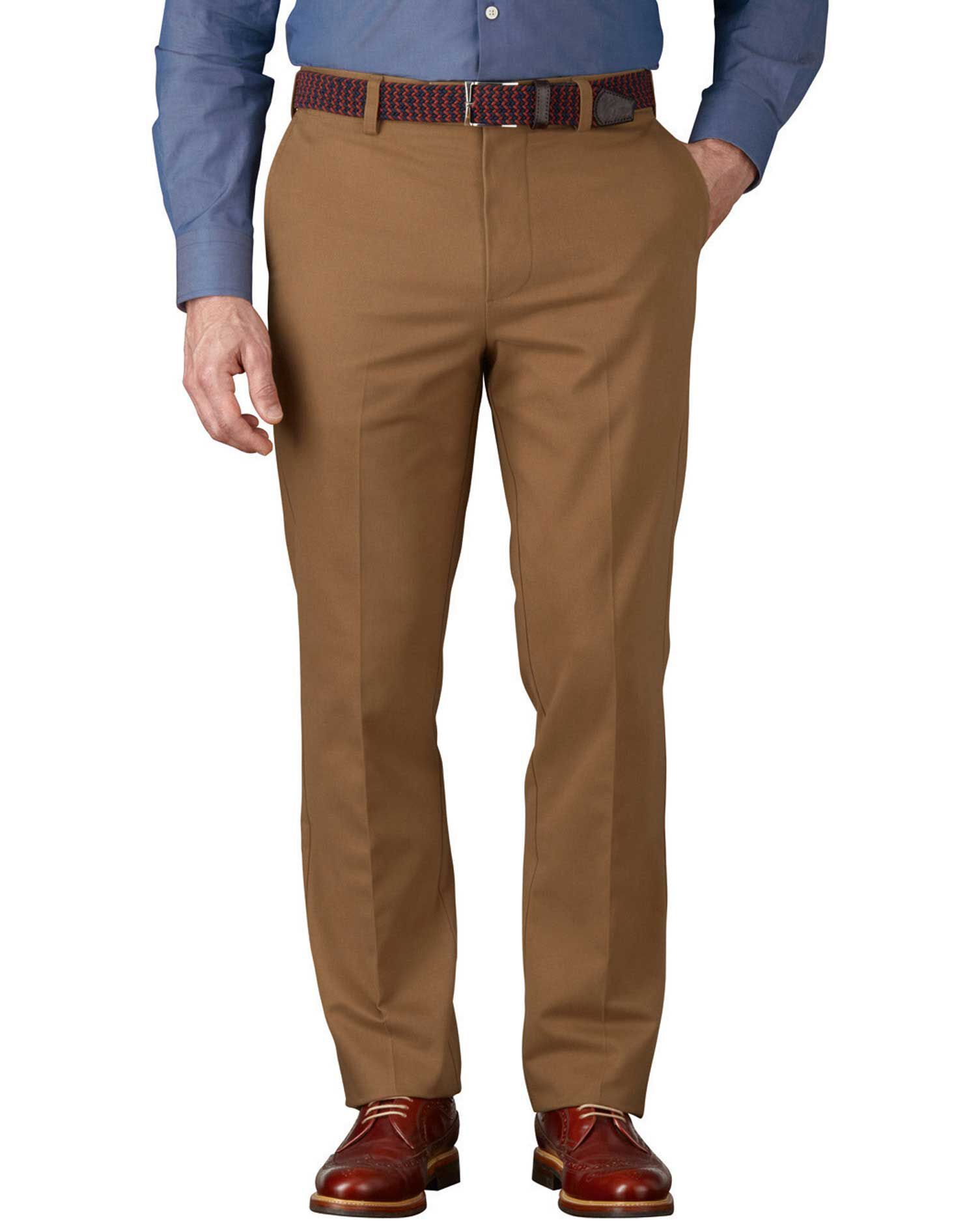 Camel Slim Fit Flat Front Non-Iron Cotton Chino Trousers Size W34 L30 by Charles Tyrwhitt