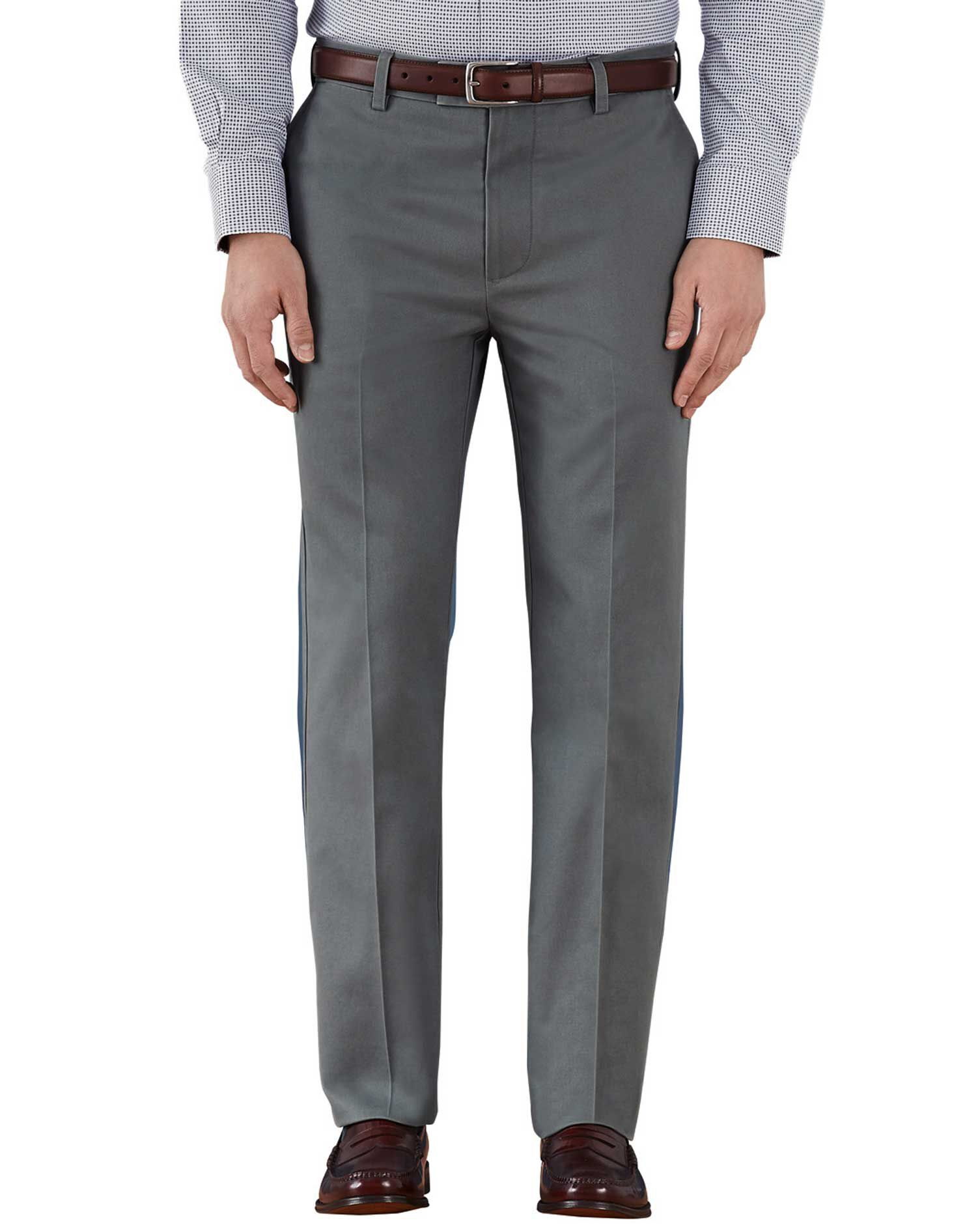 Grey Slim Fit Flat Front Non-Iron Cotton Chino Trousers Size W34 L32 by Charles Tyrwhitt