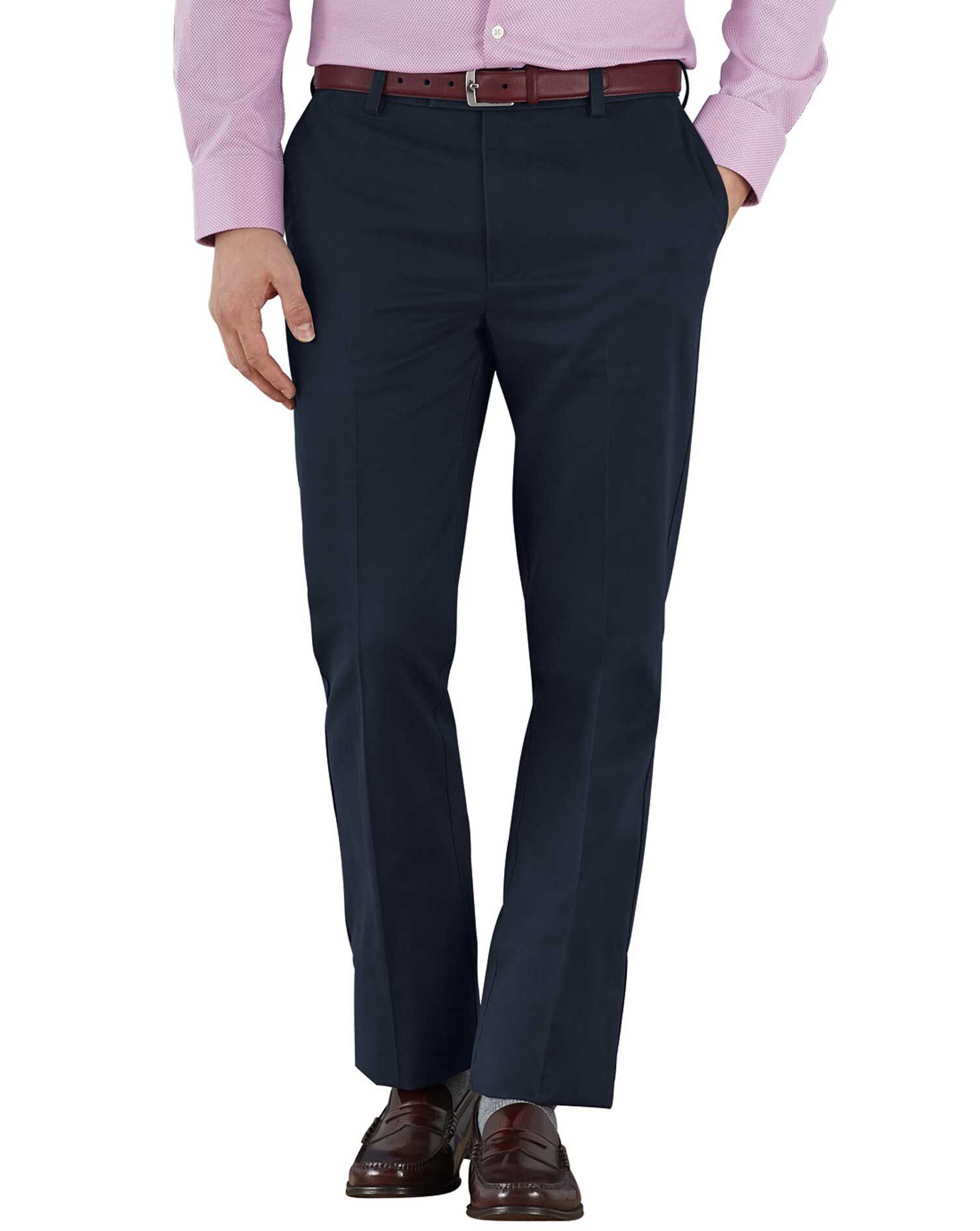 Navy Slim Fit Flat Front Non-Iron Cotton Chino Trousers Size W34 L30 by Charles Tyrwhitt