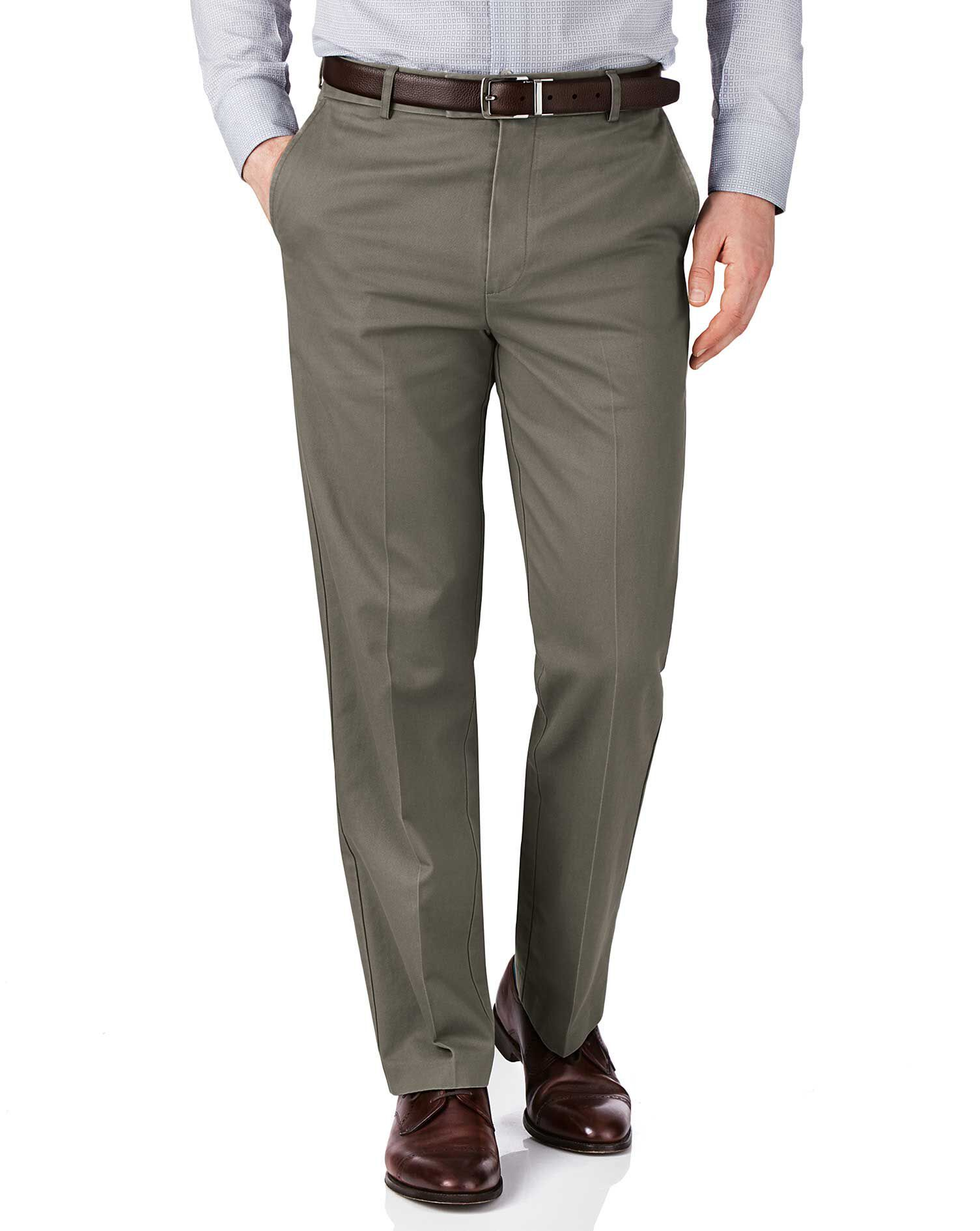 Olive Green Slim Fit Flat Front Non-Iron Cotton Chino Trousers Size W42 L30 by Charles Tyrwhitt