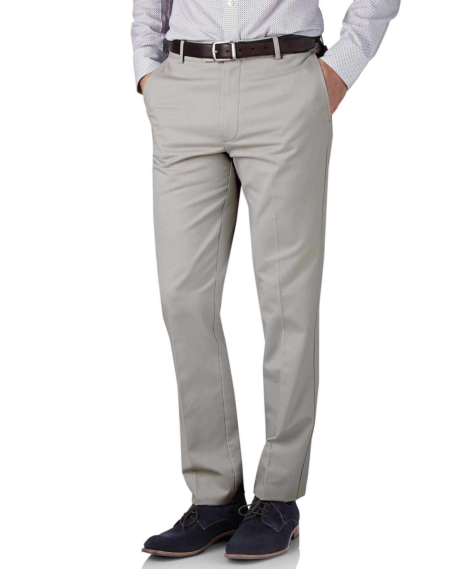 Silver Grey Slim Fit Flat Front Non-Iron Cotton Chino Trousers Size W32 L32 by Charles Tyrwhitt