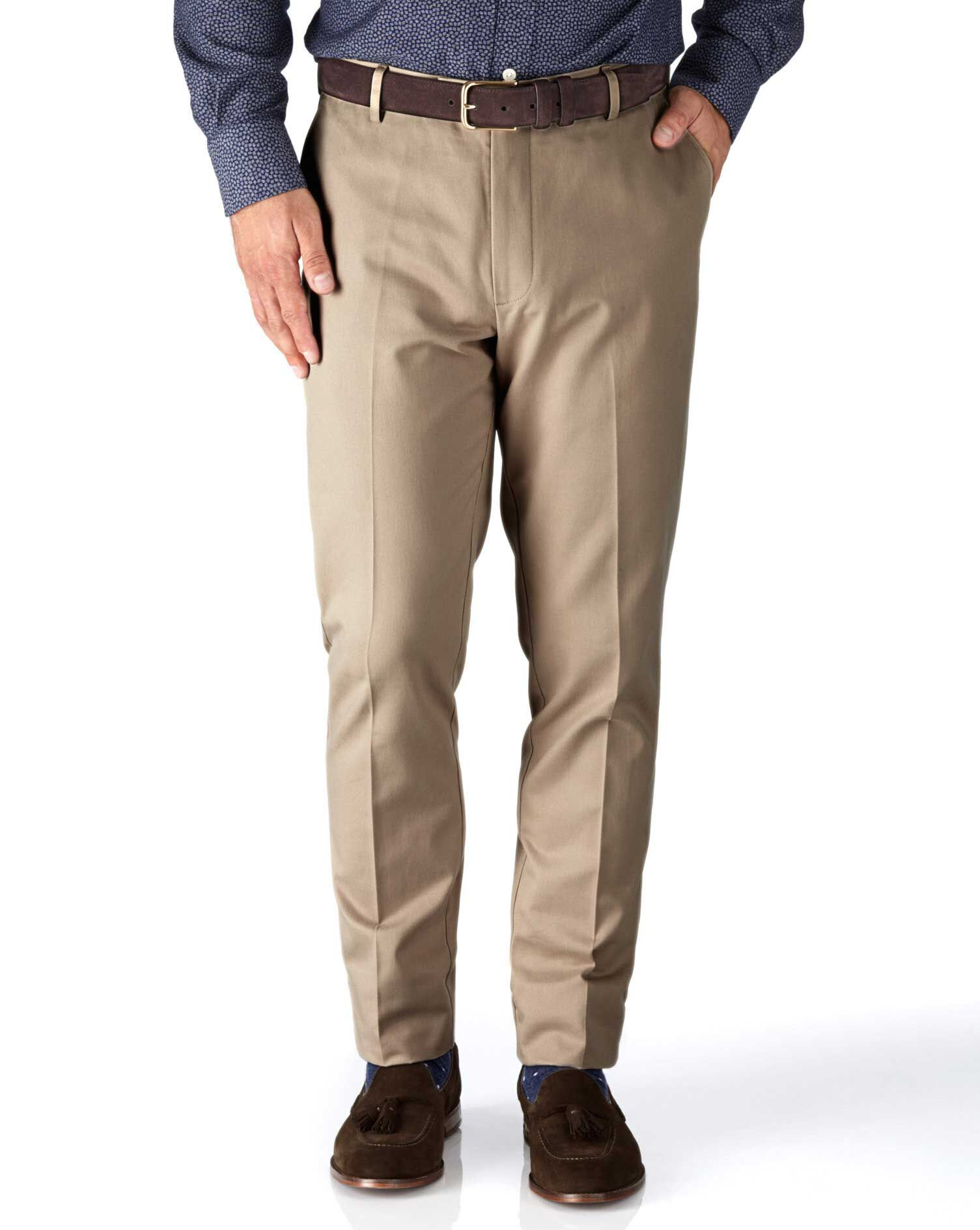 Stone Slim Fit Flat Front Non-Iron Cotton Chino Trousers Size W36 L32 by Charles Tyrwhitt