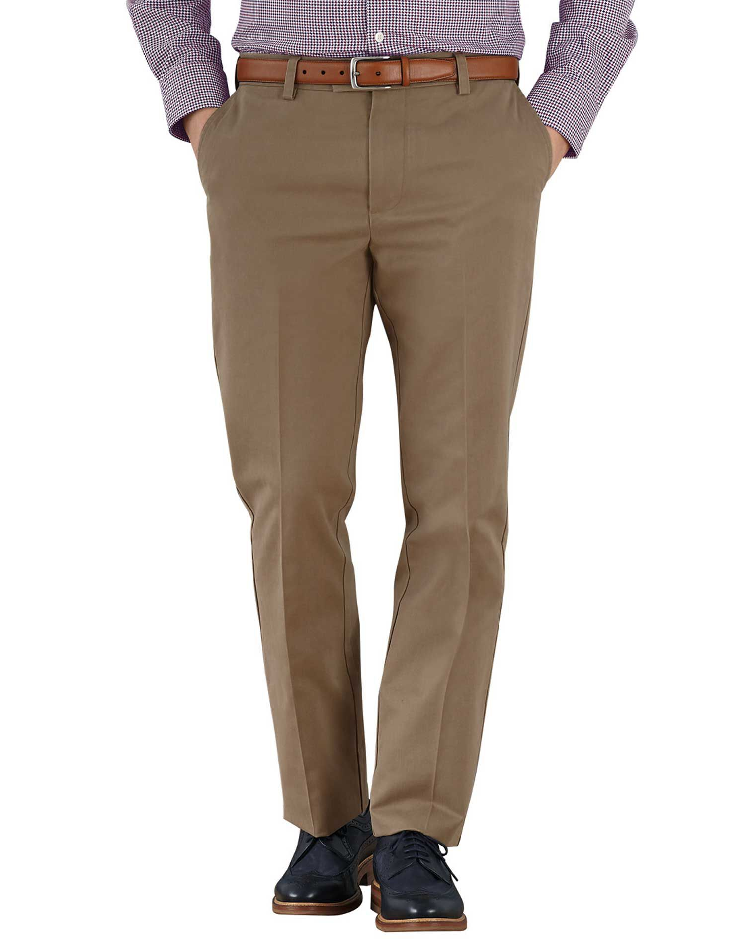 Tan Slim Fit Flat Front Non-Iron Cotton Chino Trousers Size W38 L34 by Charles Tyrwhitt