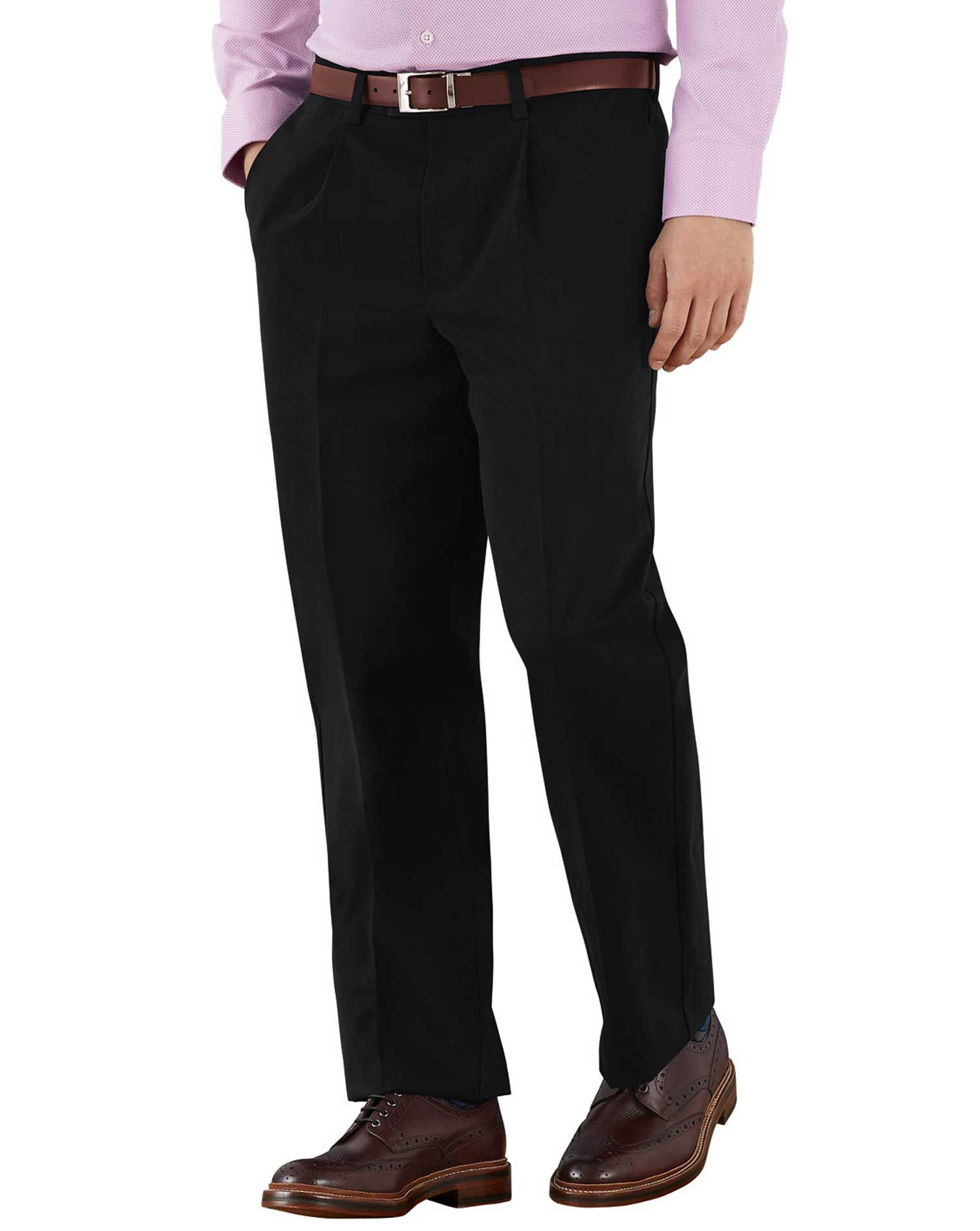 Black Classic Fit Single Pleat Non-Iron Cotton Chino Trousers Size W40 L32 by Charles Tyrwhitt