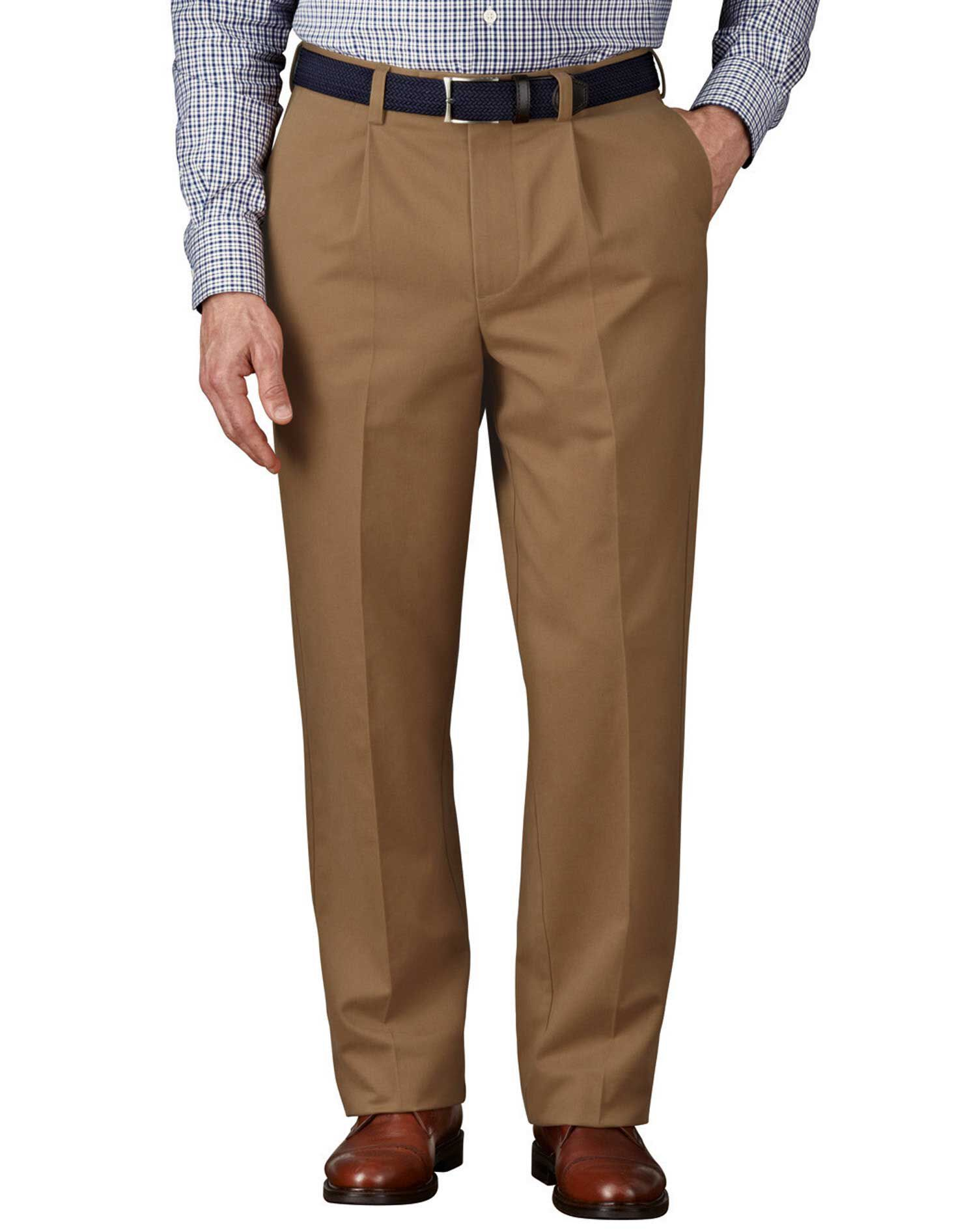 Camel Classic Fit Single Pleat Non-Iron Cotton Chino Trousers Size W42 L32 by Charles Tyrwhitt