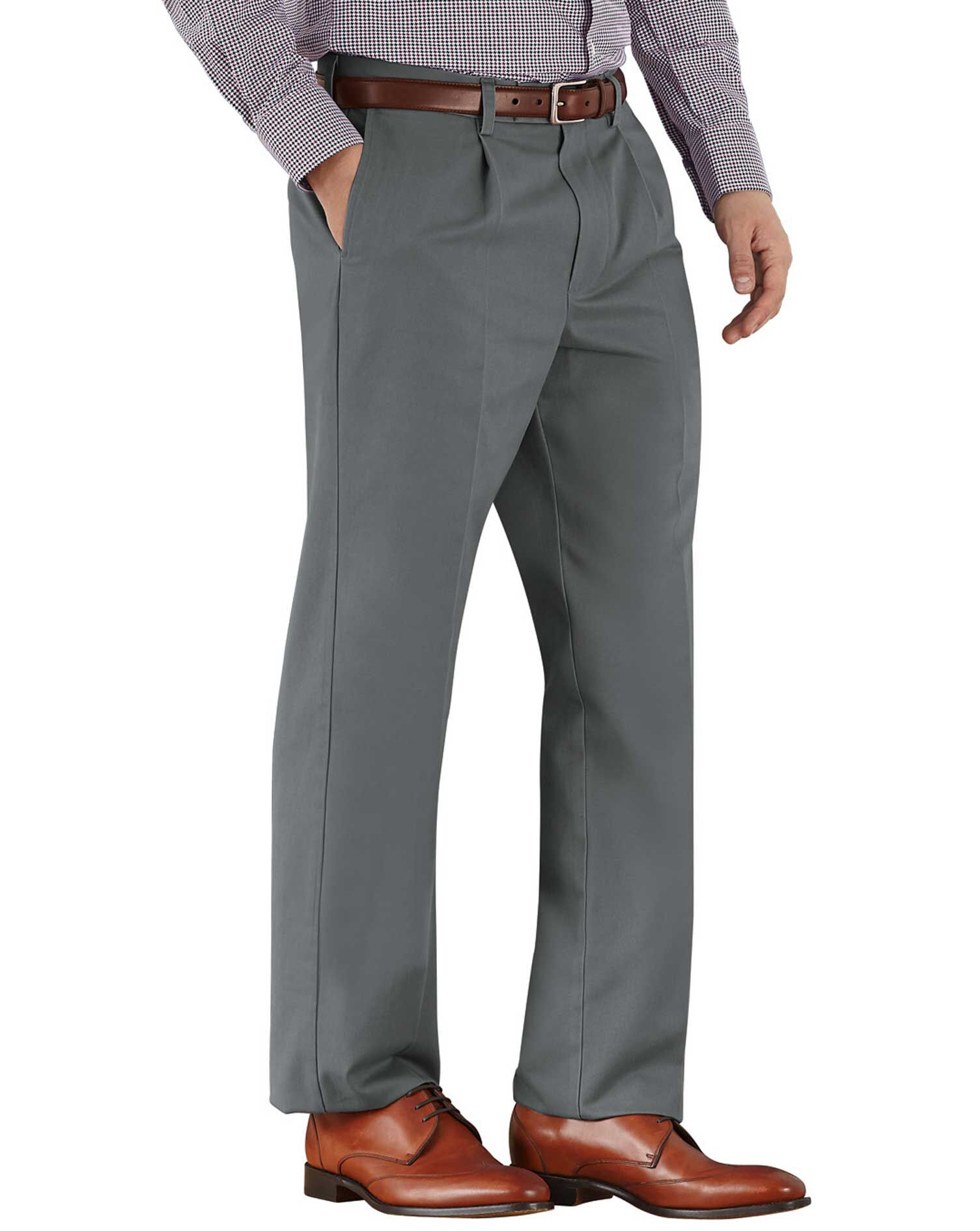 Grey Classic Fit Single Pleat Non-Iron Cotton Chino Trousers Size W40 L30 by Charles Tyrwhitt