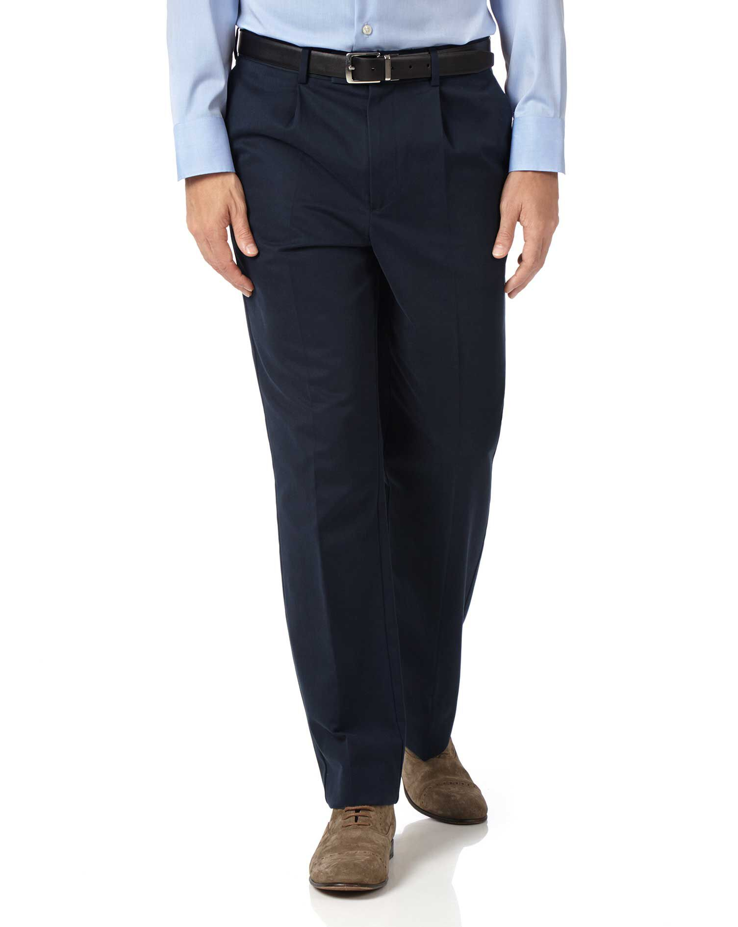 Navy Classic Fit Single Pleat Non-Iron Cotton Chino Trousers Size W42 L32 by Charles Tyrwhitt