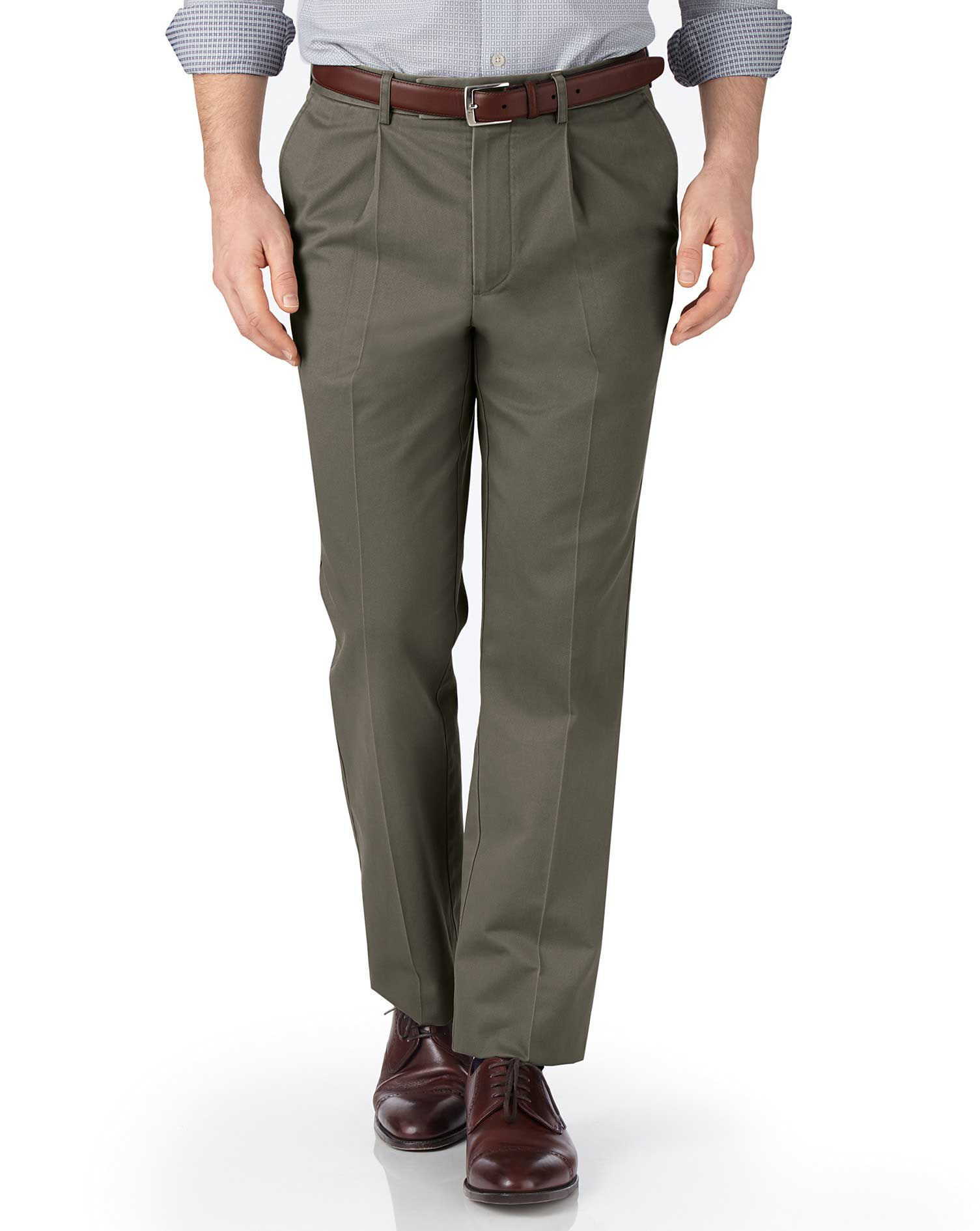 Olive Green Classic Fit Single Pleat Non-Iron Cotton Chino Trousers Size W30 L38 by Charles Tyrwhitt
