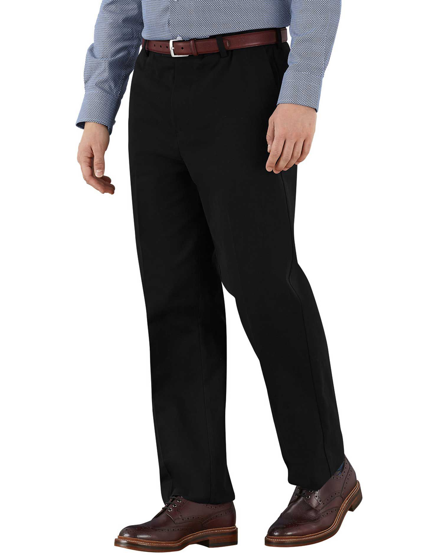 Black Classic Fit Flat Front Non-Iron Cotton Chino Trousers Size W34 L34 by Charles Tyrwhitt