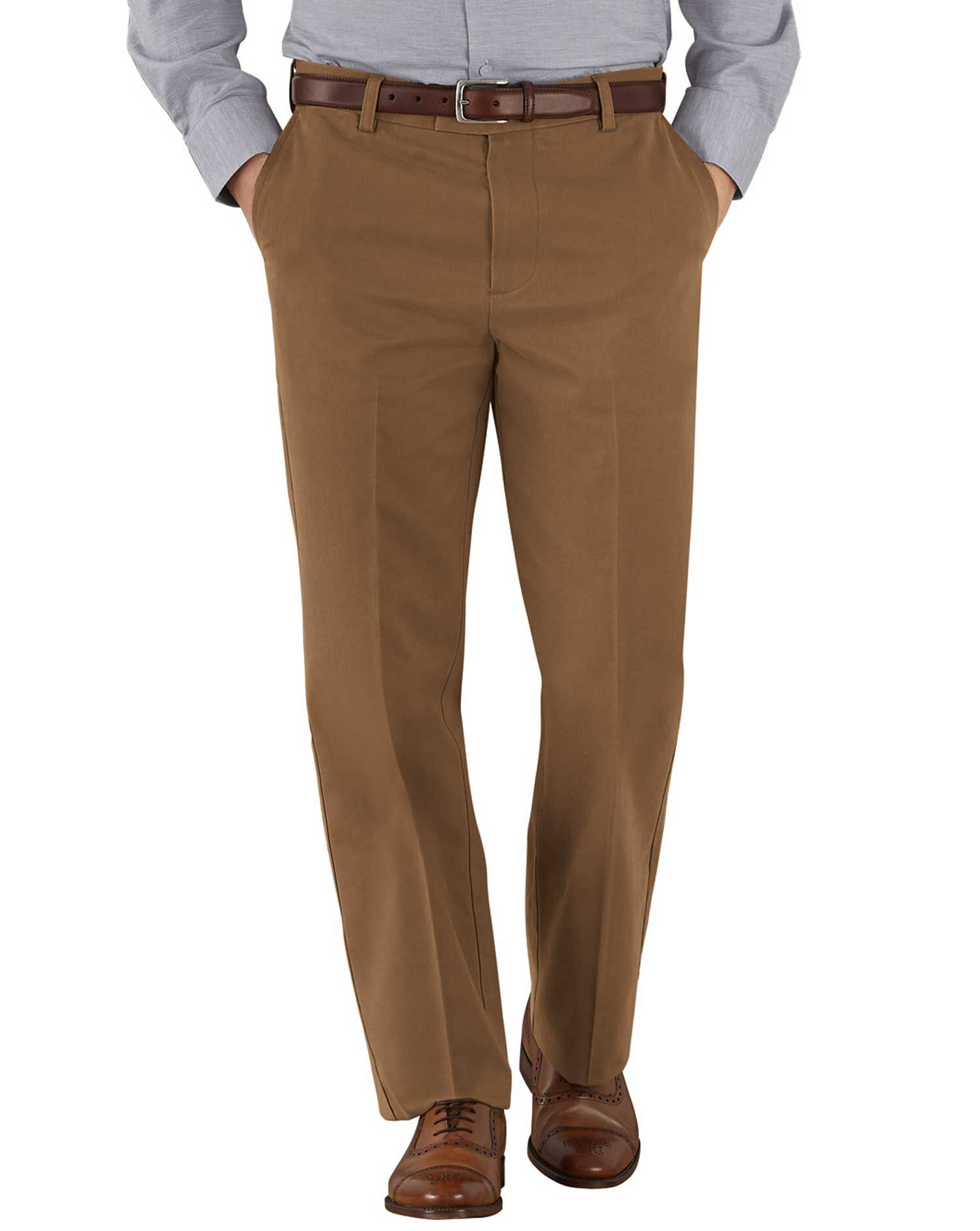 Camel Classic Fit Flat Front Non-Iron Cotton Chino Trousers Size W42 L32 by Charles Tyrwhitt