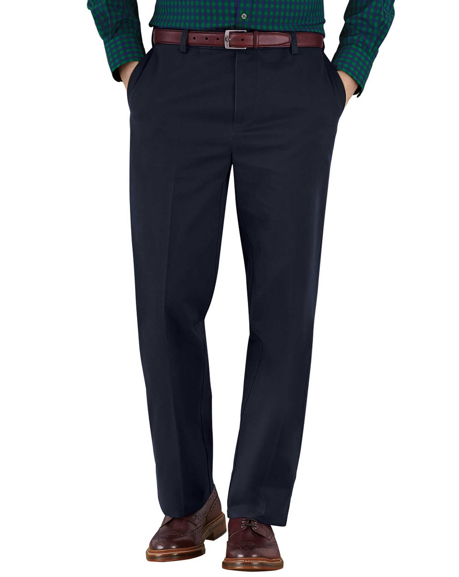 Navy Classic Fit Flat Front Non-Iron Cotton Chino Trousers Size W42 L38 by Charles Tyrwhitt