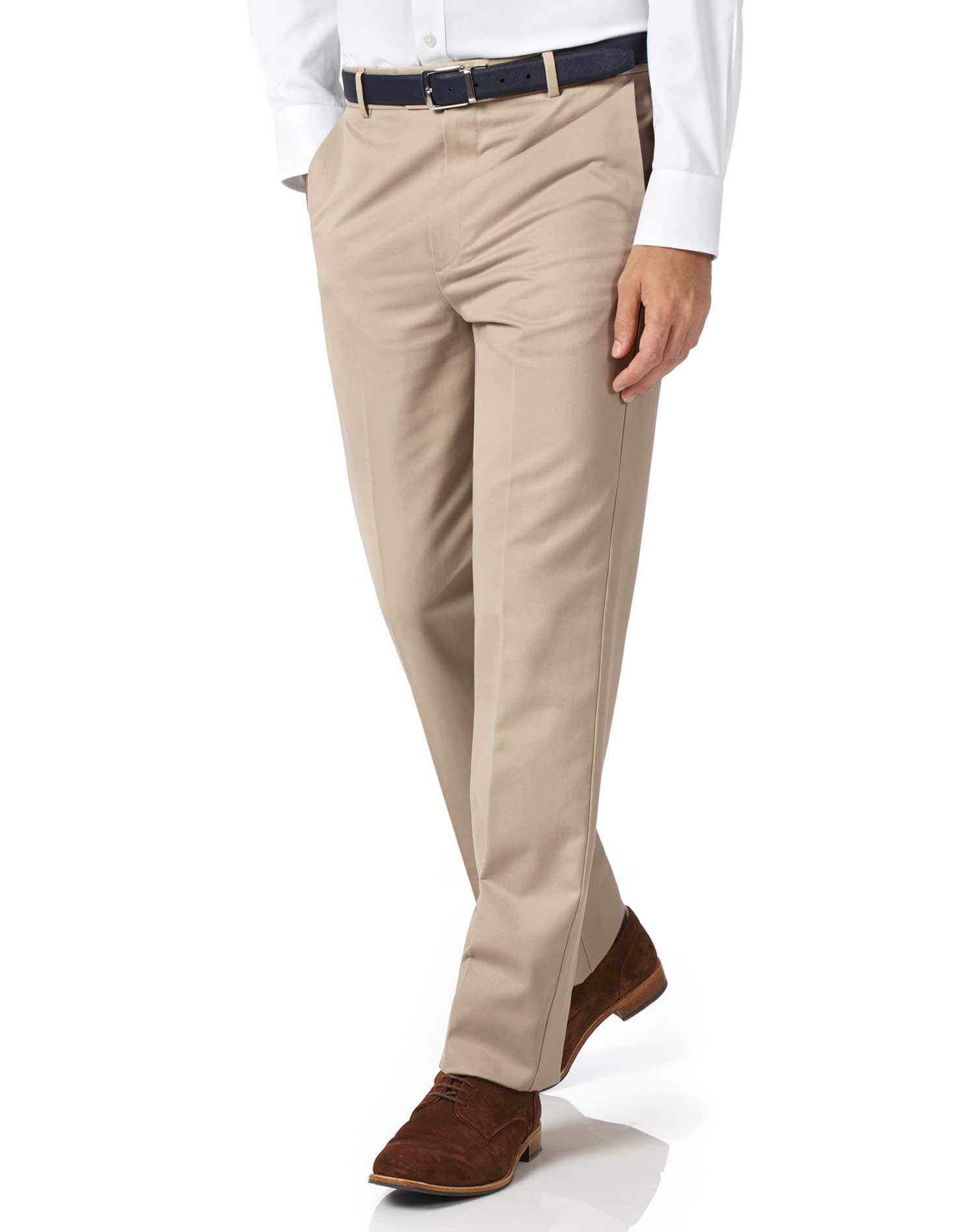 Stone Classic Fit Flat Front Non-Iron Cotton Chino Trousers Size W36 L30 by Charles Tyrwhitt