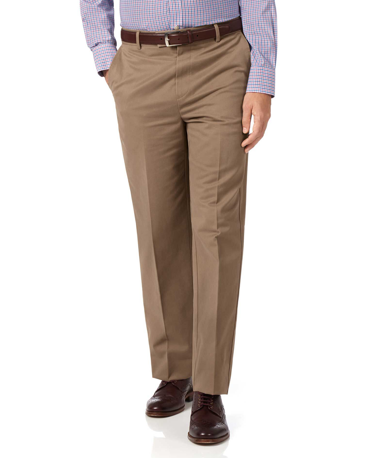 Tan Classic Fit Flat Front Non-Iron Cotton Chino Trousers Size W40 L32 by Charles Tyrwhitt