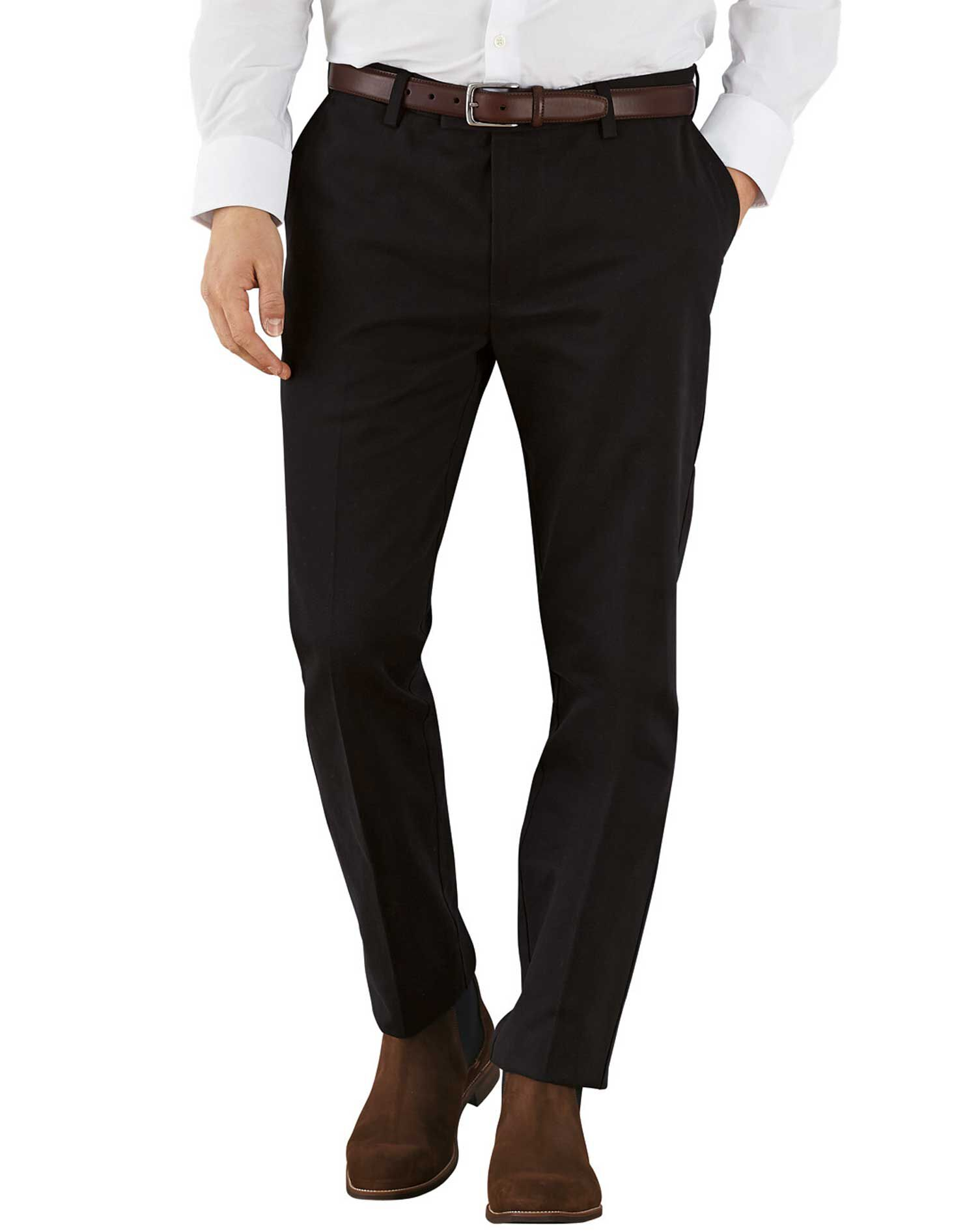 Black Extra Slim Fit Flat Front Non-Iron Cotton Chino Trousers Size W32 L38 by Charles Tyrwhitt