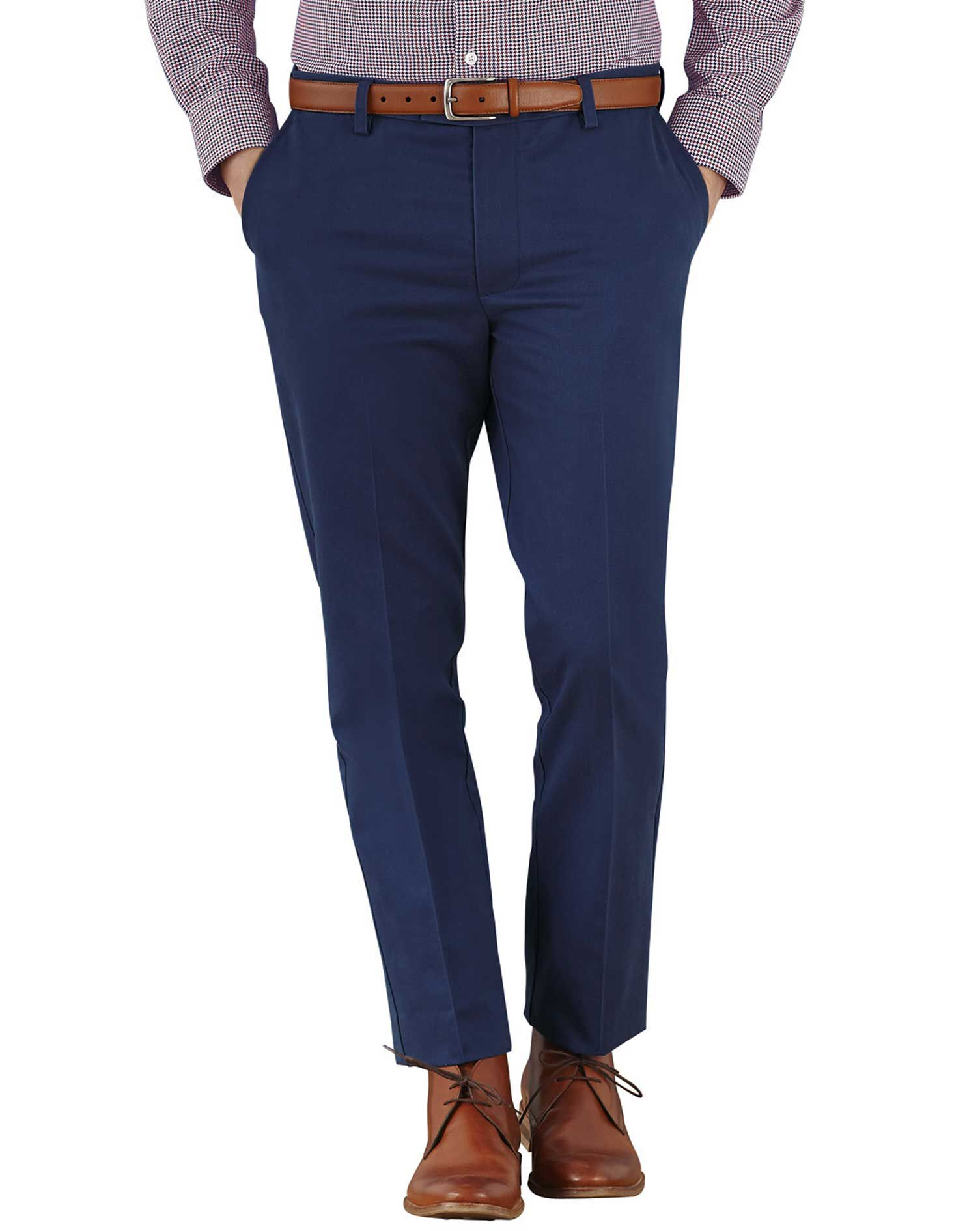 Marine Blue Extra Slim Fit Flat Front Non-Iron Cotton Chino Trousers Size W30 L34 by Charles Tyrwhit
