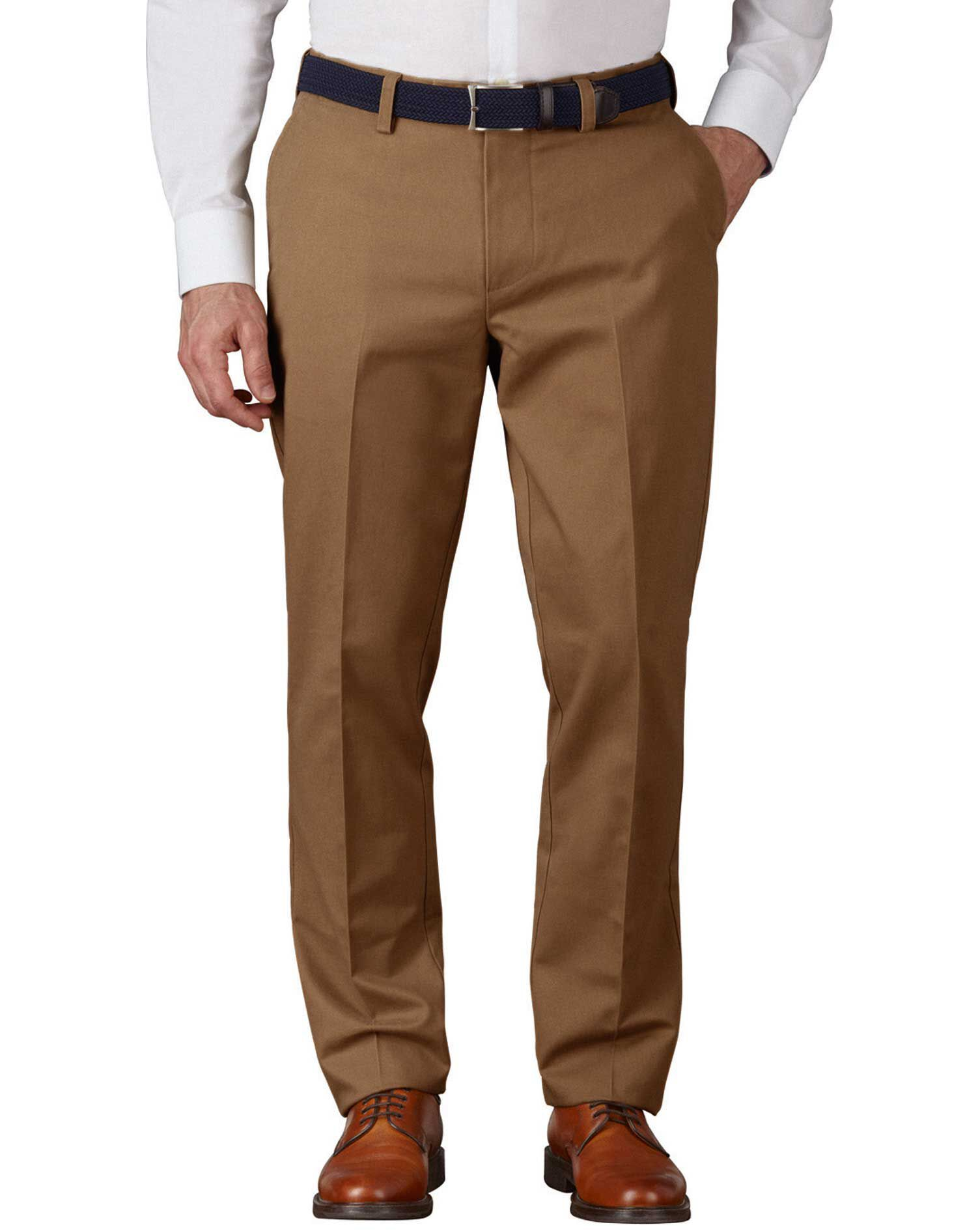 Camel Extra Slim Fit Flat Front Non-Iron Cotton Chino Trousers Size W34 L30 by Charles Tyrwhitt