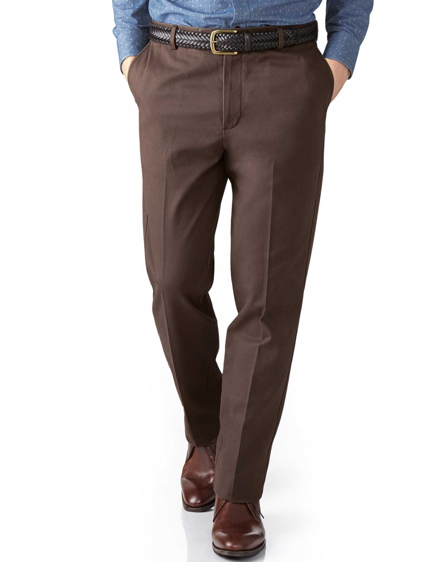 Dark Brown Extra Slim Fit Flat Front Non-Iron Cotton Chino Trousers Size W30 L34 by Charles Tyrwhitt