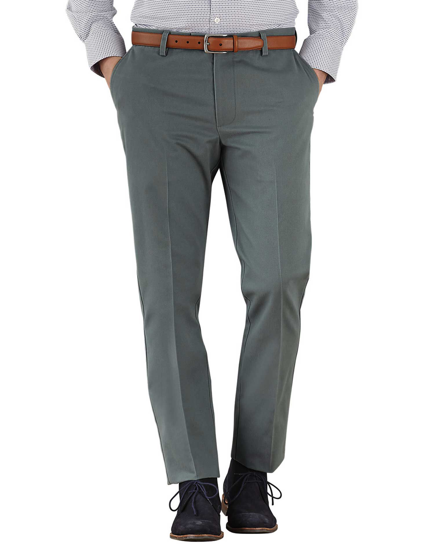 Grey Extra Slim Fit Flat Front Non-Iron Cotton Chino Trousers Size W30 L32 by Charles Tyrwhitt