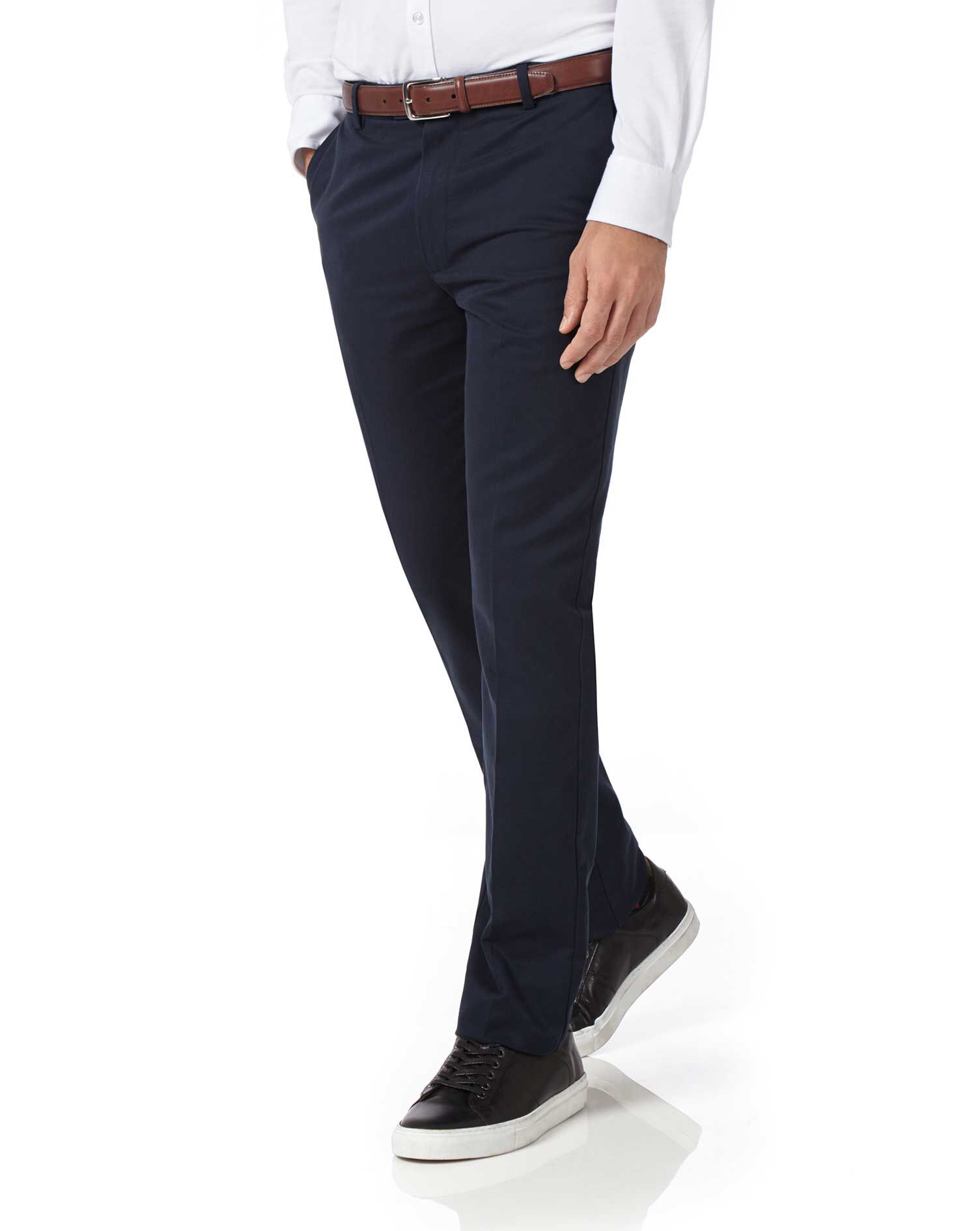 Navy Extra Slim Fit Flat Front Non-Iron Cotton Chino Trousers Size W38 L29 by Charles Tyrwhitt