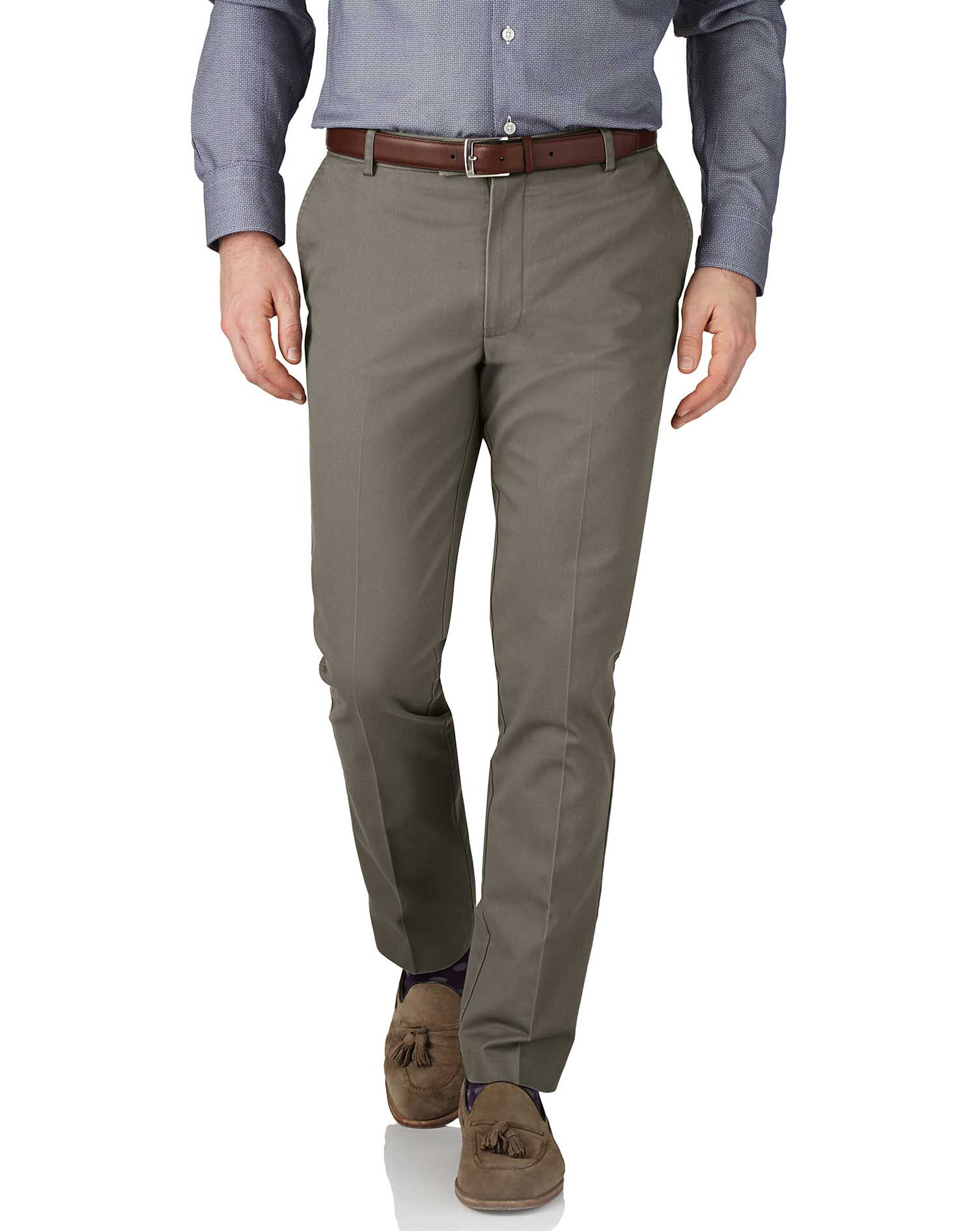 Olive Green Extra Slim Fit Flat Front Non-Iron Cotton Chino Trousers Size W38 L34 by Charles Tyrwhit