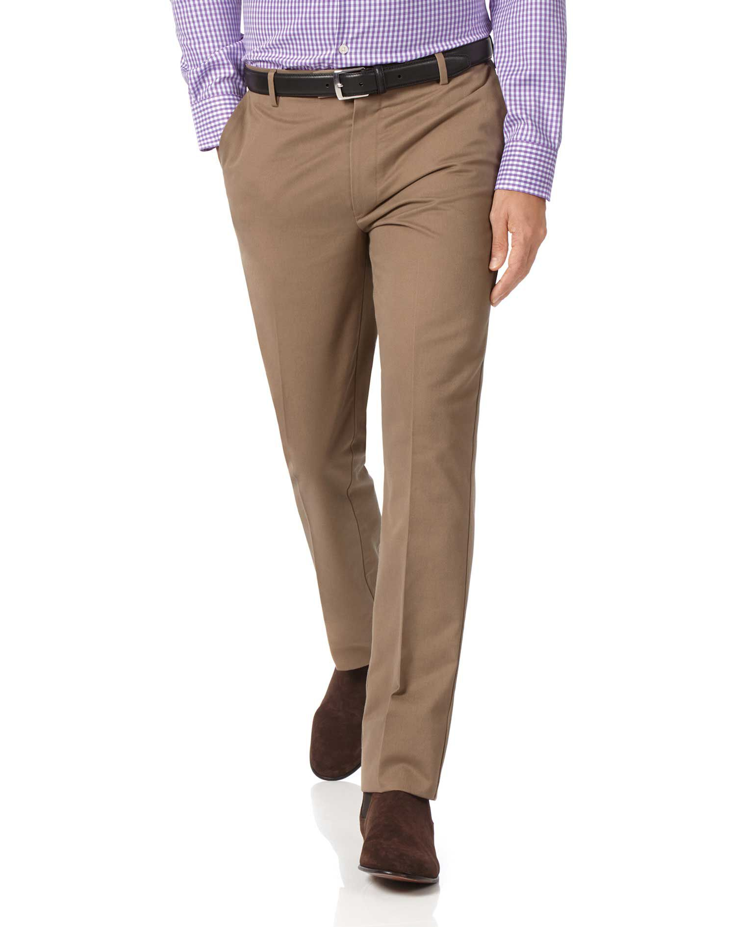 Tan Extra Slim Fit Flat Front Non-Iron Cotton Chino Trousers Size W32 L29 by Charles Tyrwhitt