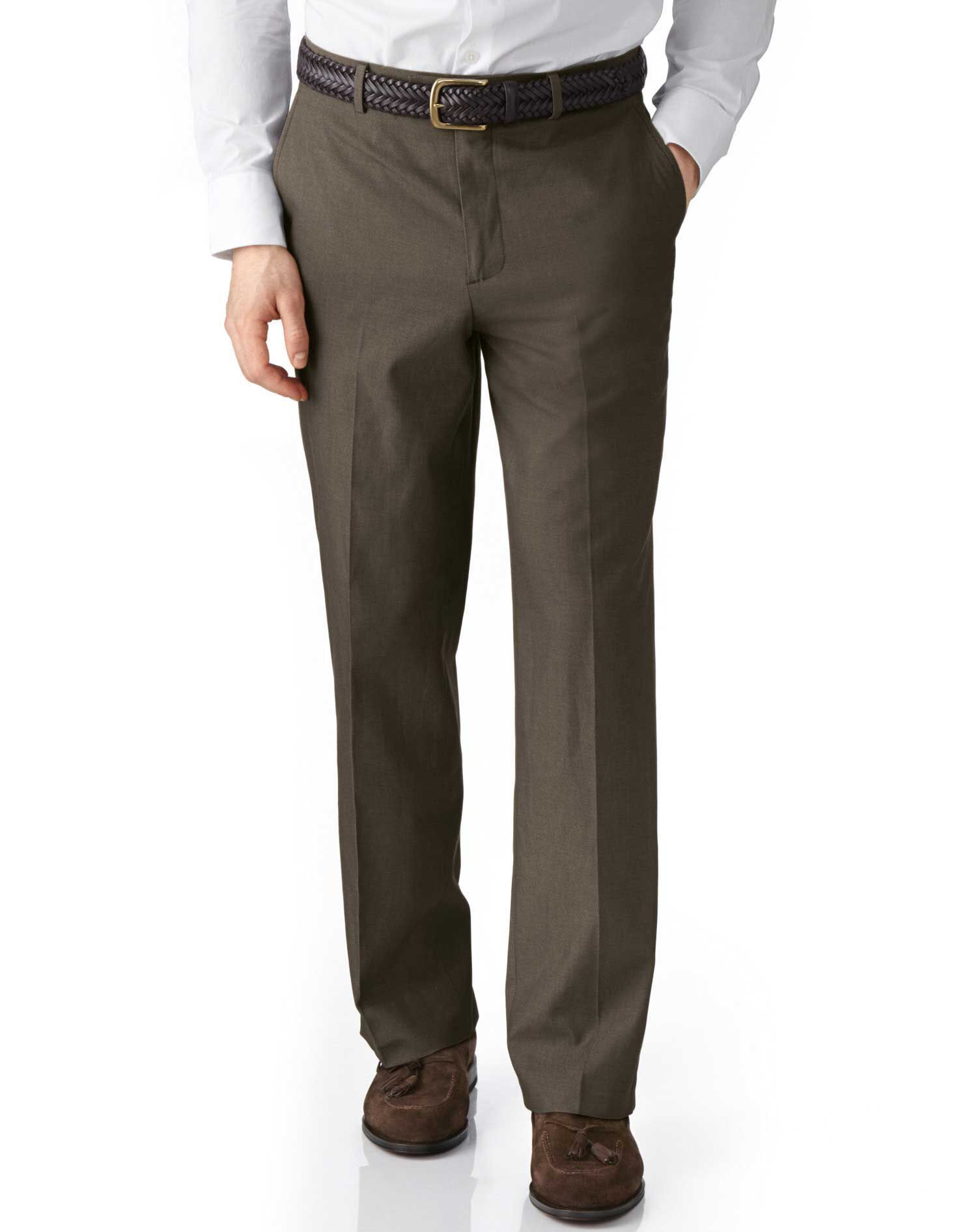 Brown Classic Fit Stretch Cavalry Twill Cotton Chino Trousers Size W40 L34 by Charles Tyrwhitt