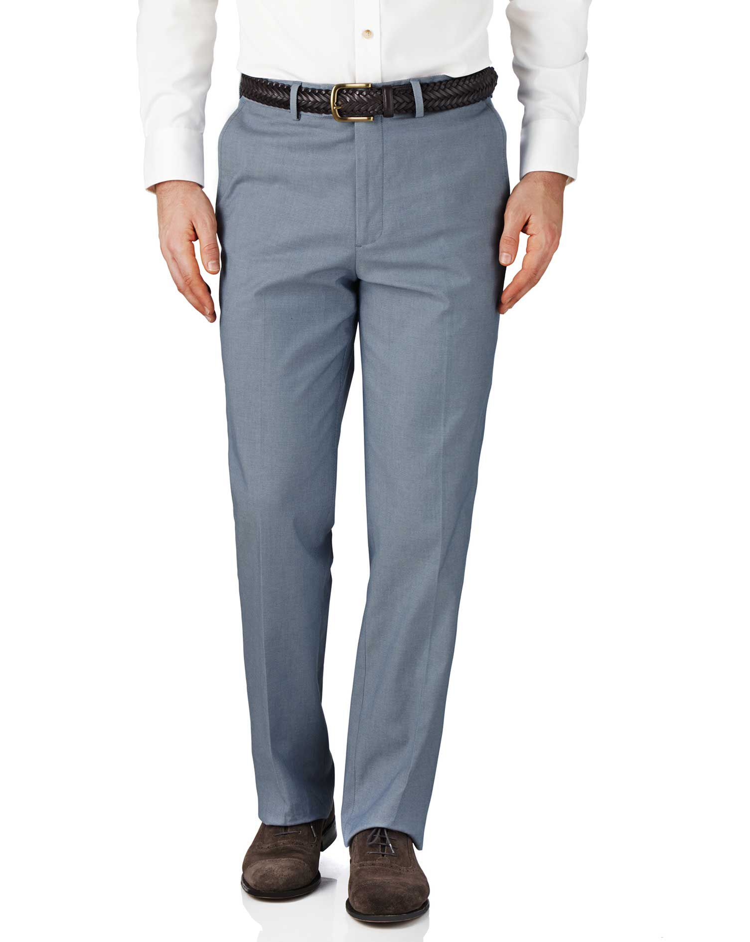 Blue Chambray Classic Fit Stretch Cavalry Twill Trousers Size W32 L30 by Charles Tyrwhitt