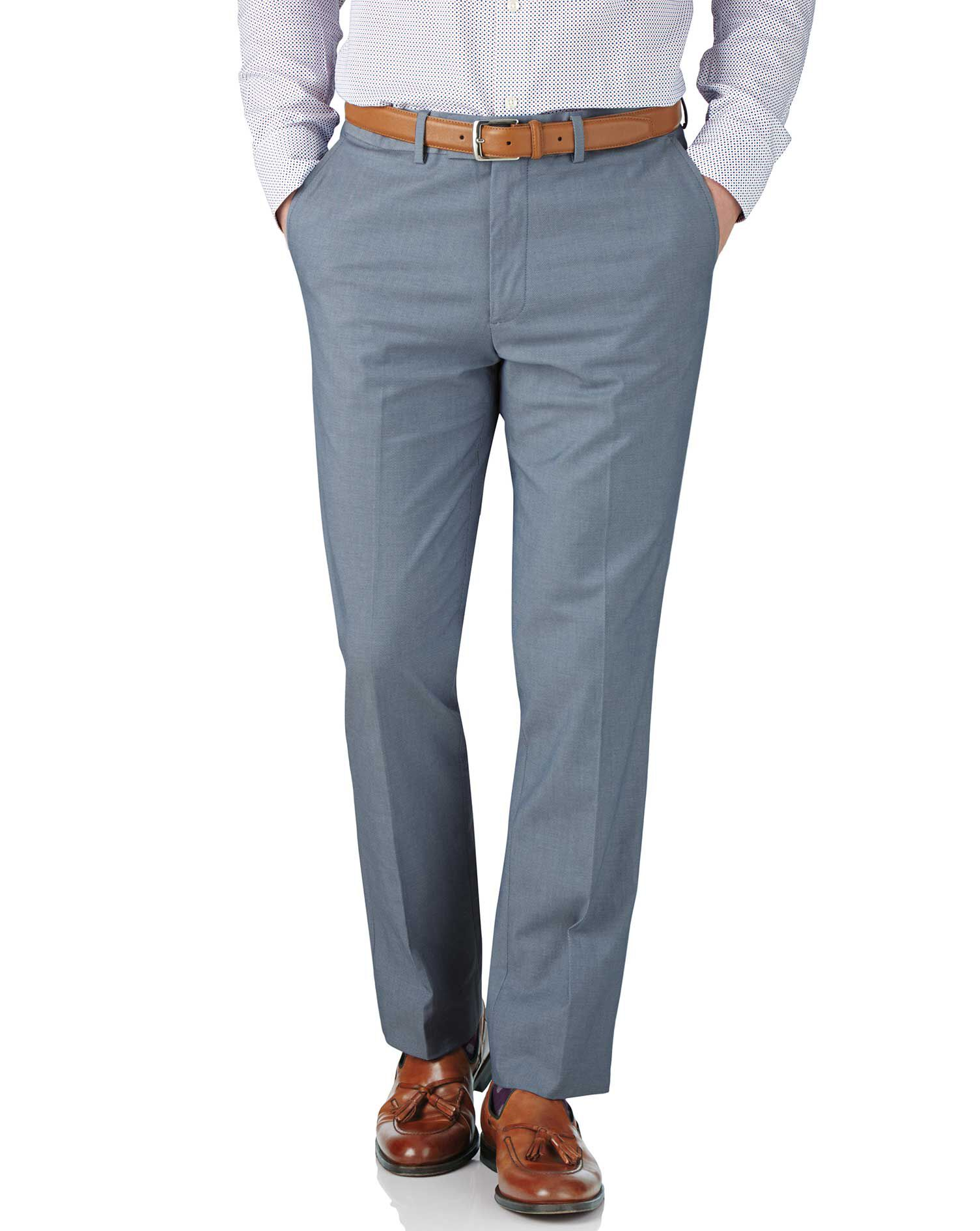 Blue Chambray Slim Fit Stretch Cavalry Twill Trousers Size W42 L32 by Charles Tyrwhitt
