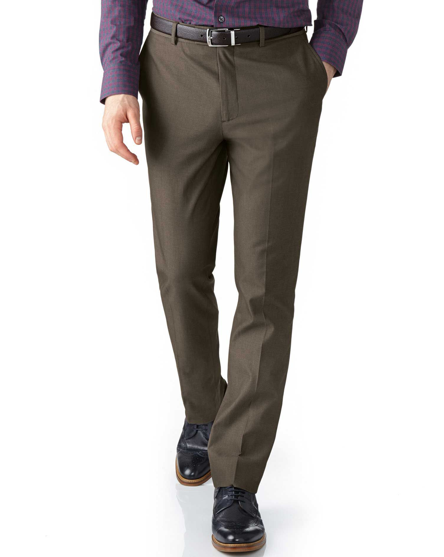 Brown Extra Slim Fit Stretch Cavalry Twill Cotton Chino Trousers Size W32 L32 by Charles Tyrwhitt
