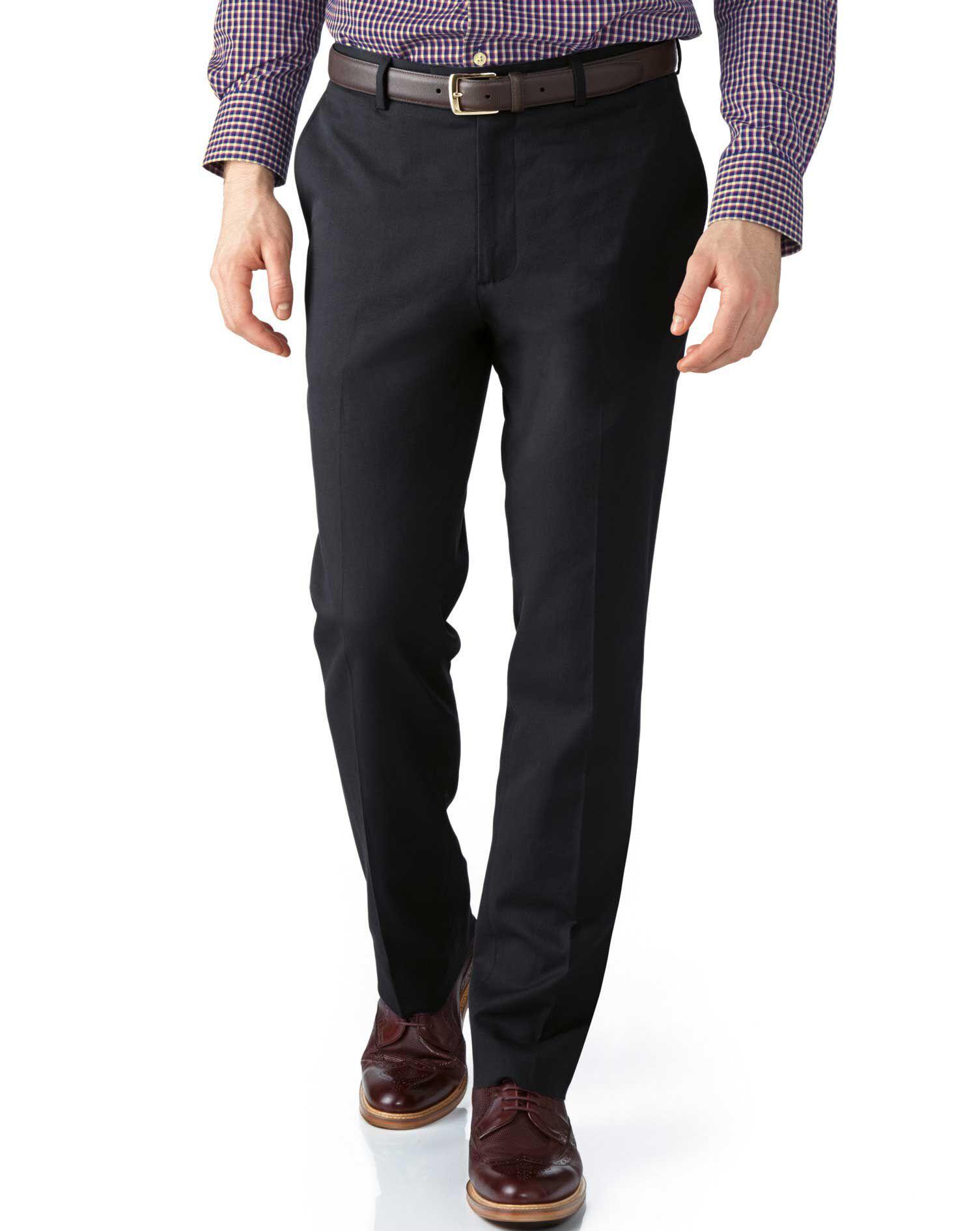 Grey Extra Slim Fit Stretch Cavalry Twill Trousers Size W38 L34 by Charles Tyrwhitt