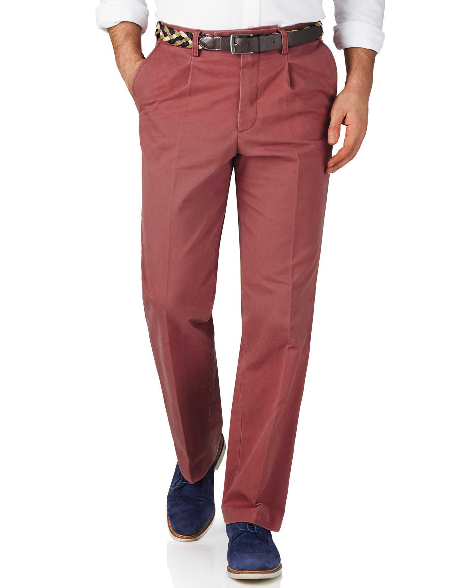 Light Red Classic Fit Single Pleat Weekend Cotton Chino Trousers Size W30 L38 by Charles Tyrwhitt