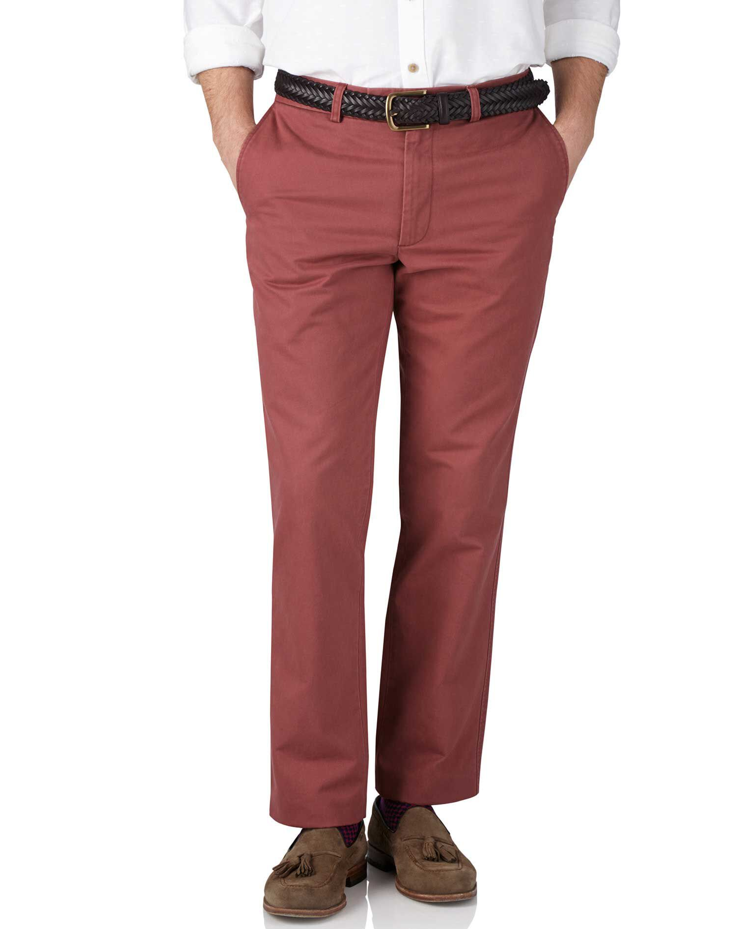 Light Red Slim Fit Flat Front Weekend Cotton Chino Trousers Size W32 L32 by Charles Tyrwhitt
