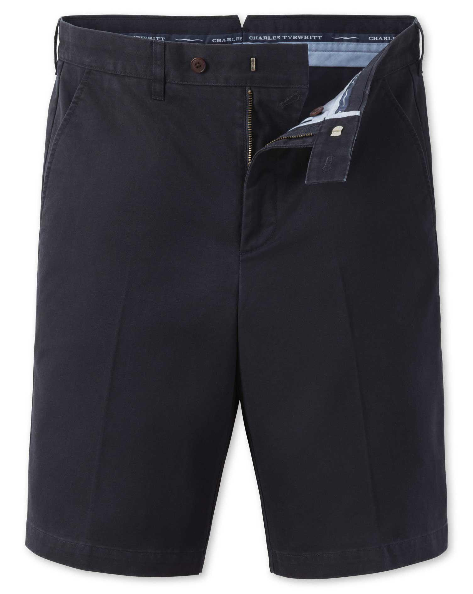 Navy Single Pleat Chino Cotton Shorts Size 30 by Charles Tyrwhitt