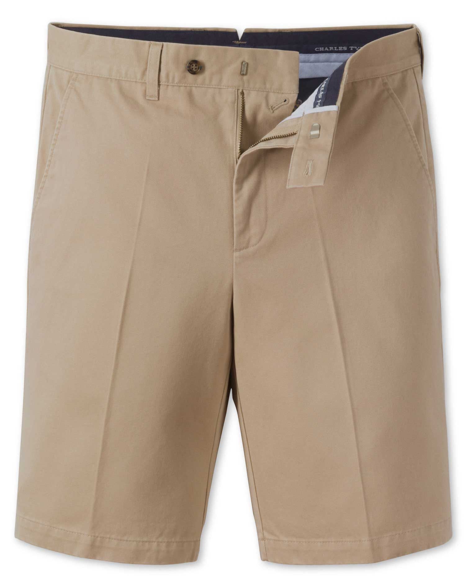 Stone Single Pleat Chino Cotton Shorts Size 30 by Charles Tyrwhitt