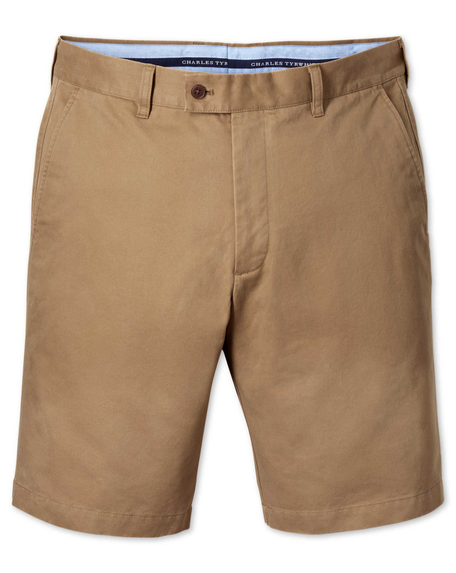 Tan Slim Fit Chino Cotton Shorts Size 42 by Charles Tyrwhitt
