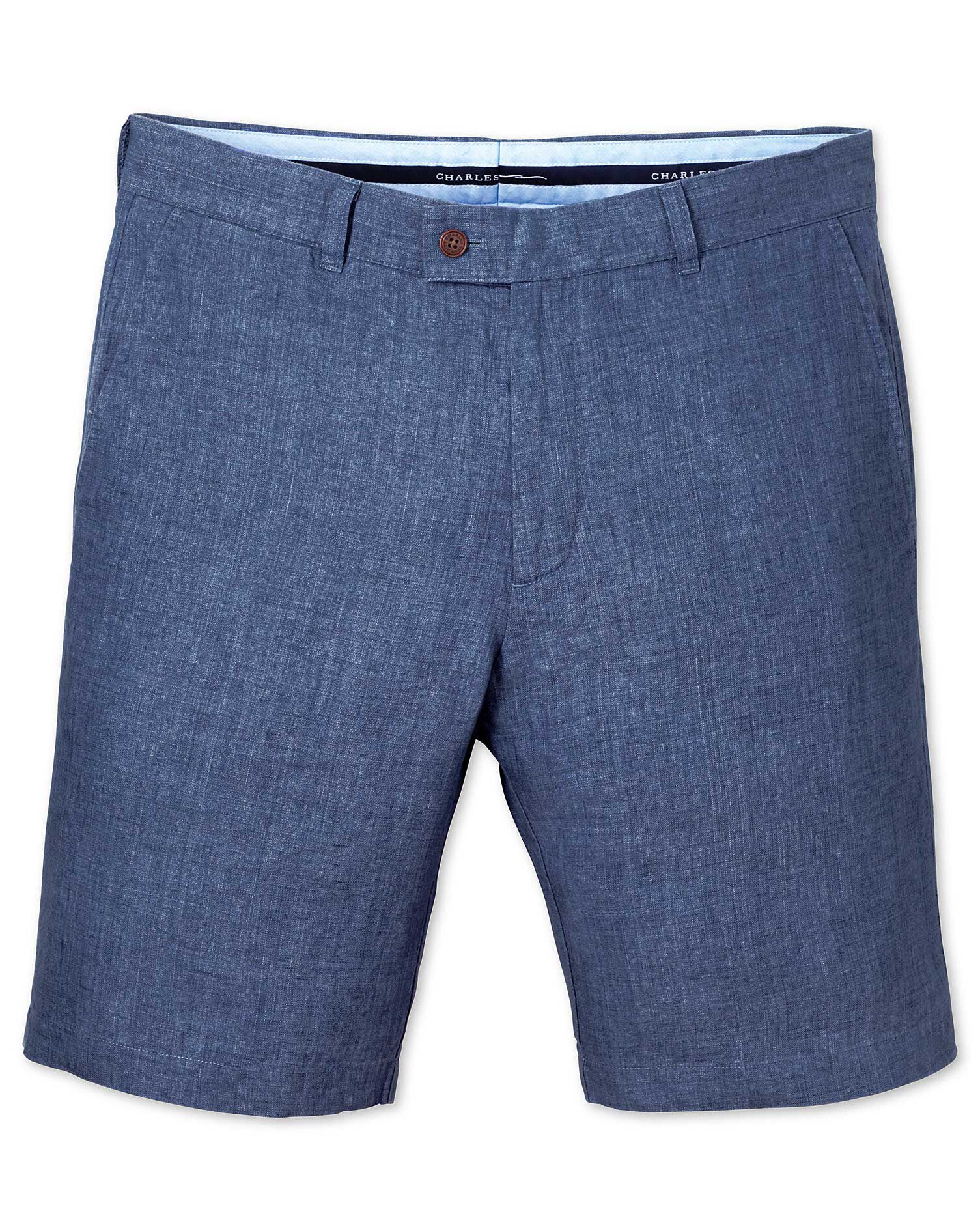 Blue Slim Fit Linen Shorts Size 38 by Charles Tyrwhitt