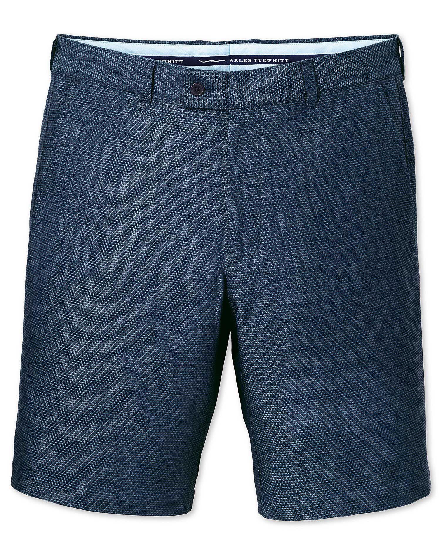 Blue Slim Fit Dobby Cotton Shorts Size 42 by Charles Tyrwhitt