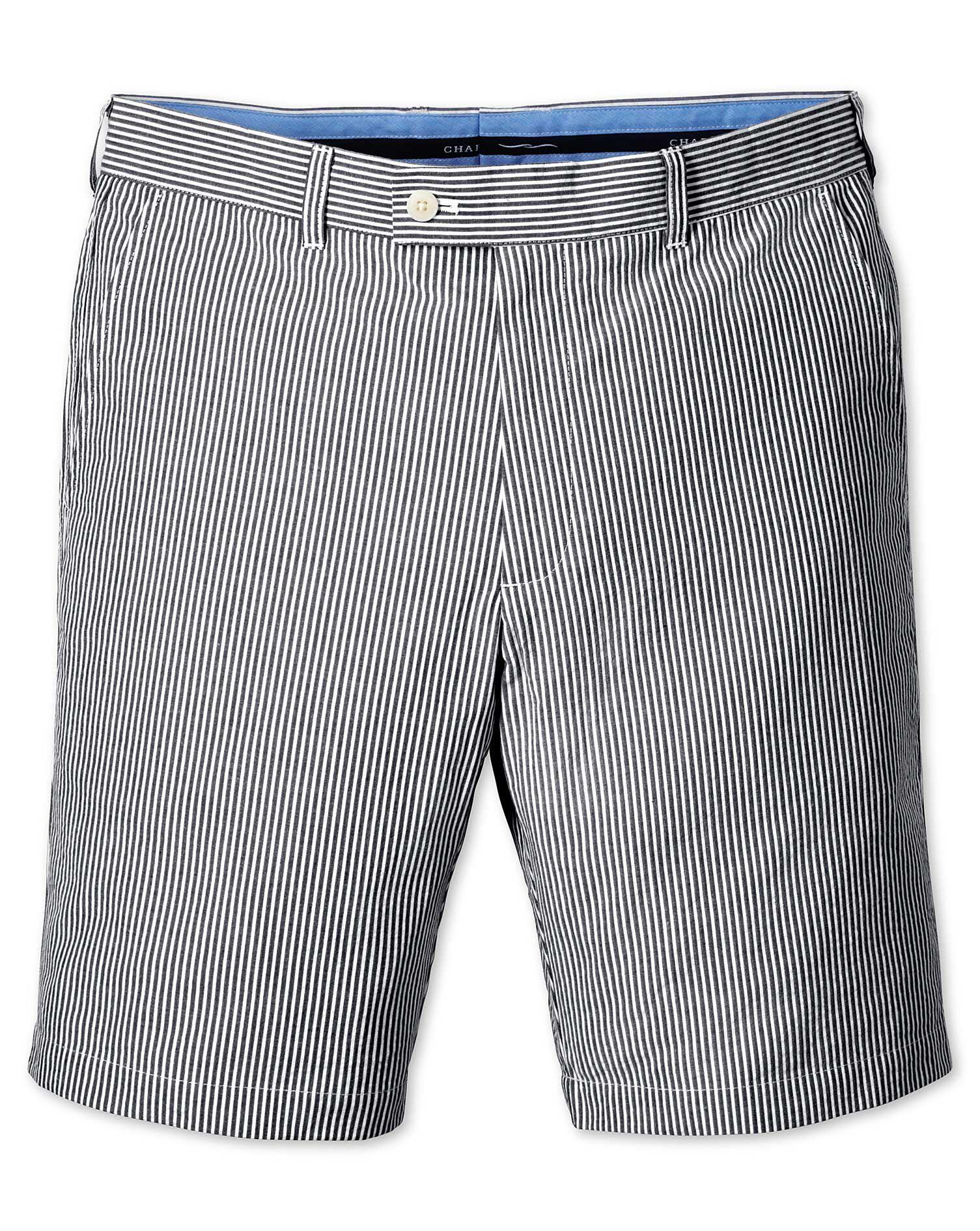 Blue Slim Fit Seersucker Stripe Cotton Shorts Size 38 by Charles Tyrwhitt