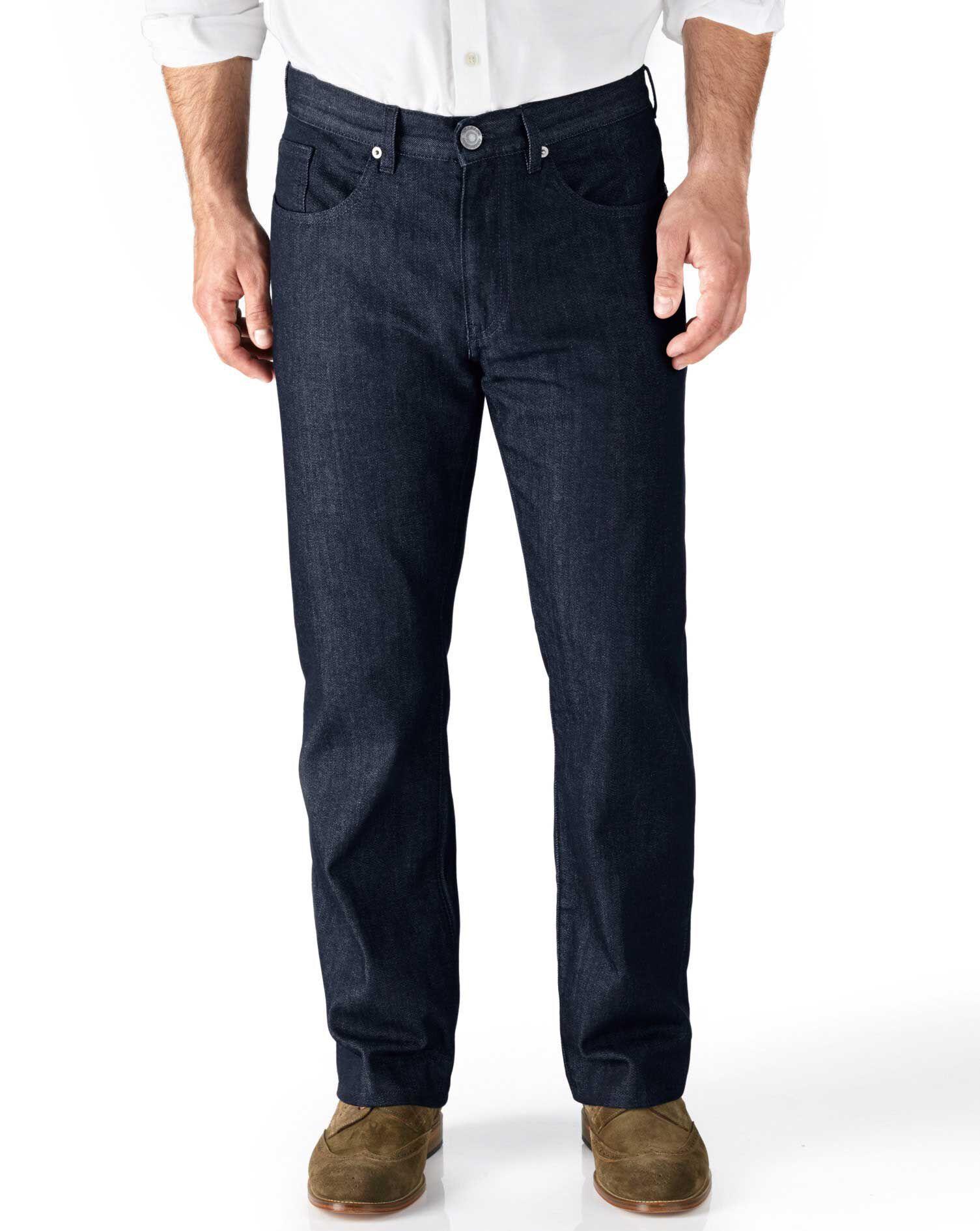 Dark Blue Classic Fit 5 Pocket Denim Jeans Size W40 L34 by Charles Tyrwhitt