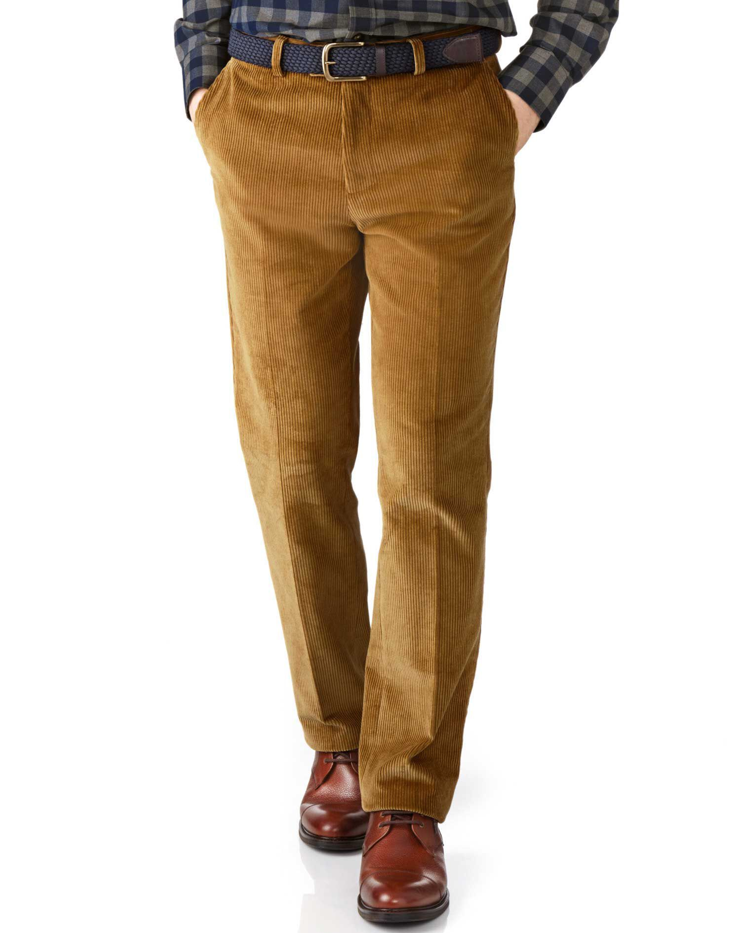 Yellow Slim Fit Jumbo Cord Trousers Size W30 L34 by Charles Tyrwhitt