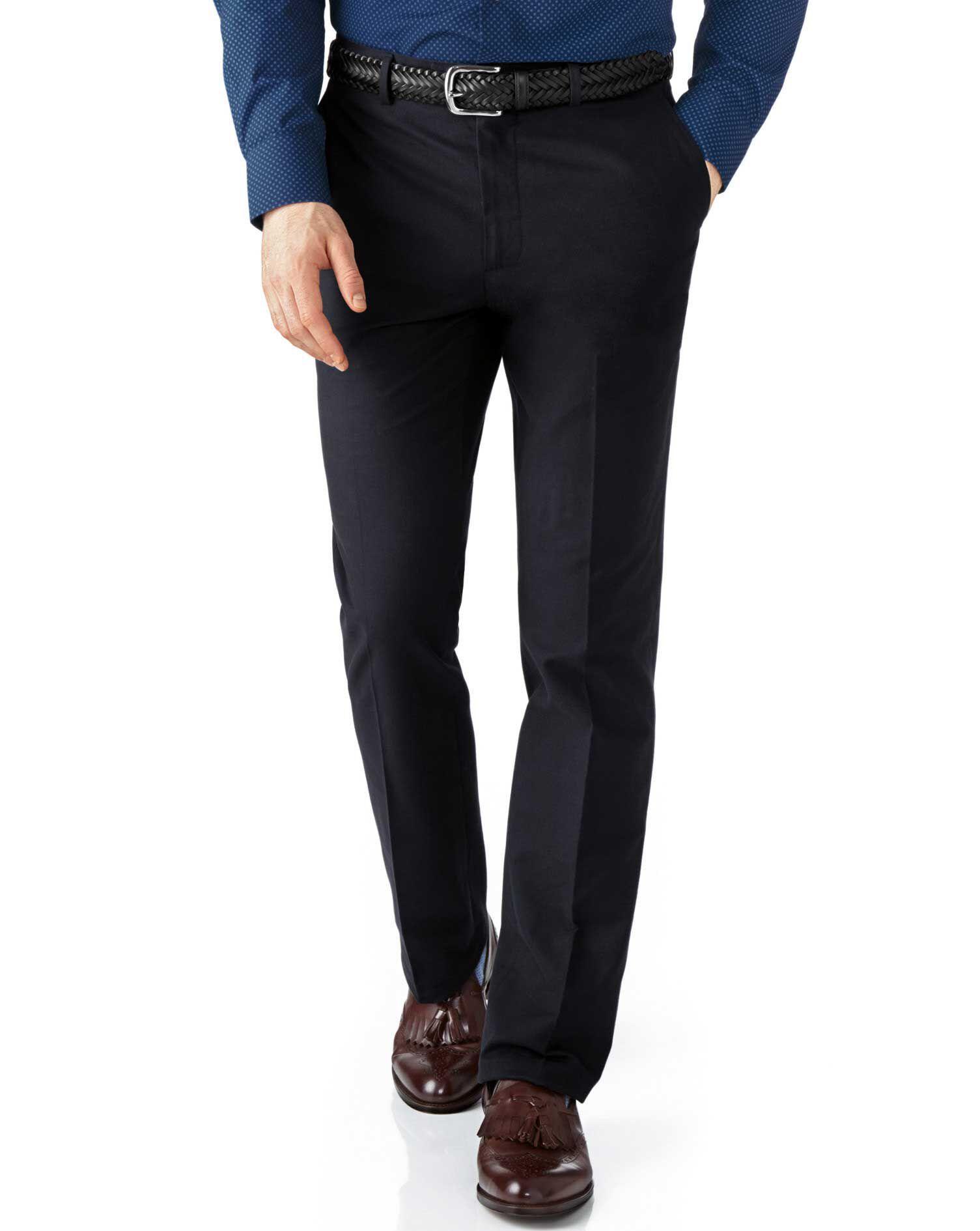 Dark Navy Slim Fit Cotton Flannel Trouser Size W38 L34 by Charles Tyrwhitt