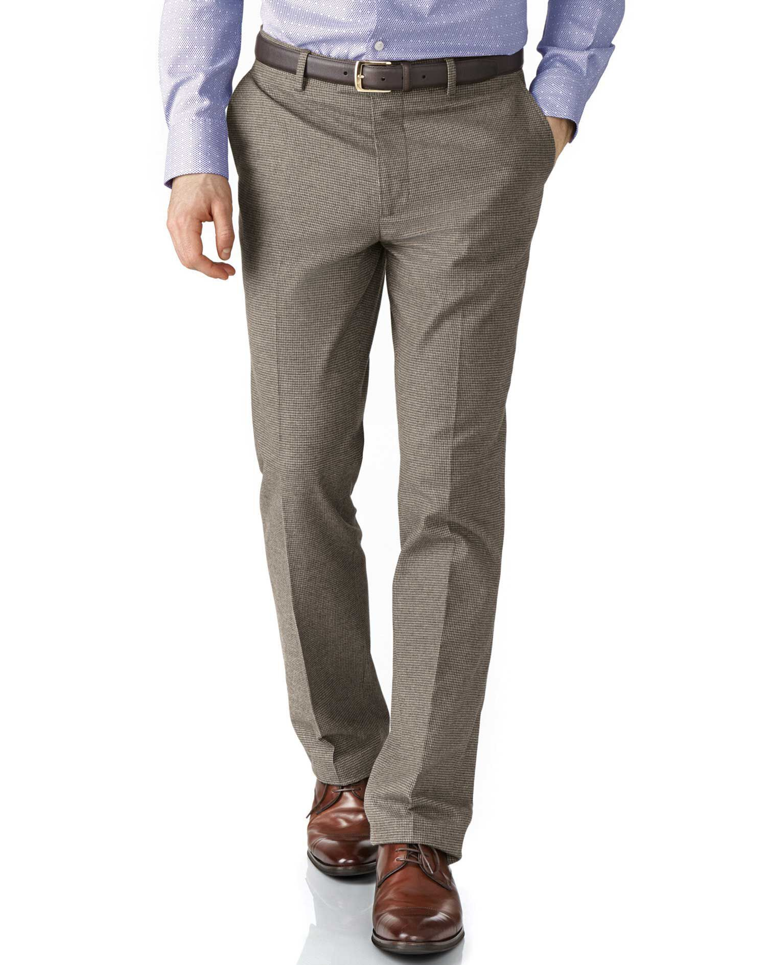 Beige Slim Fit Cotton Flannel Trouser Size W34 L34 by Charles Tyrwhitt
