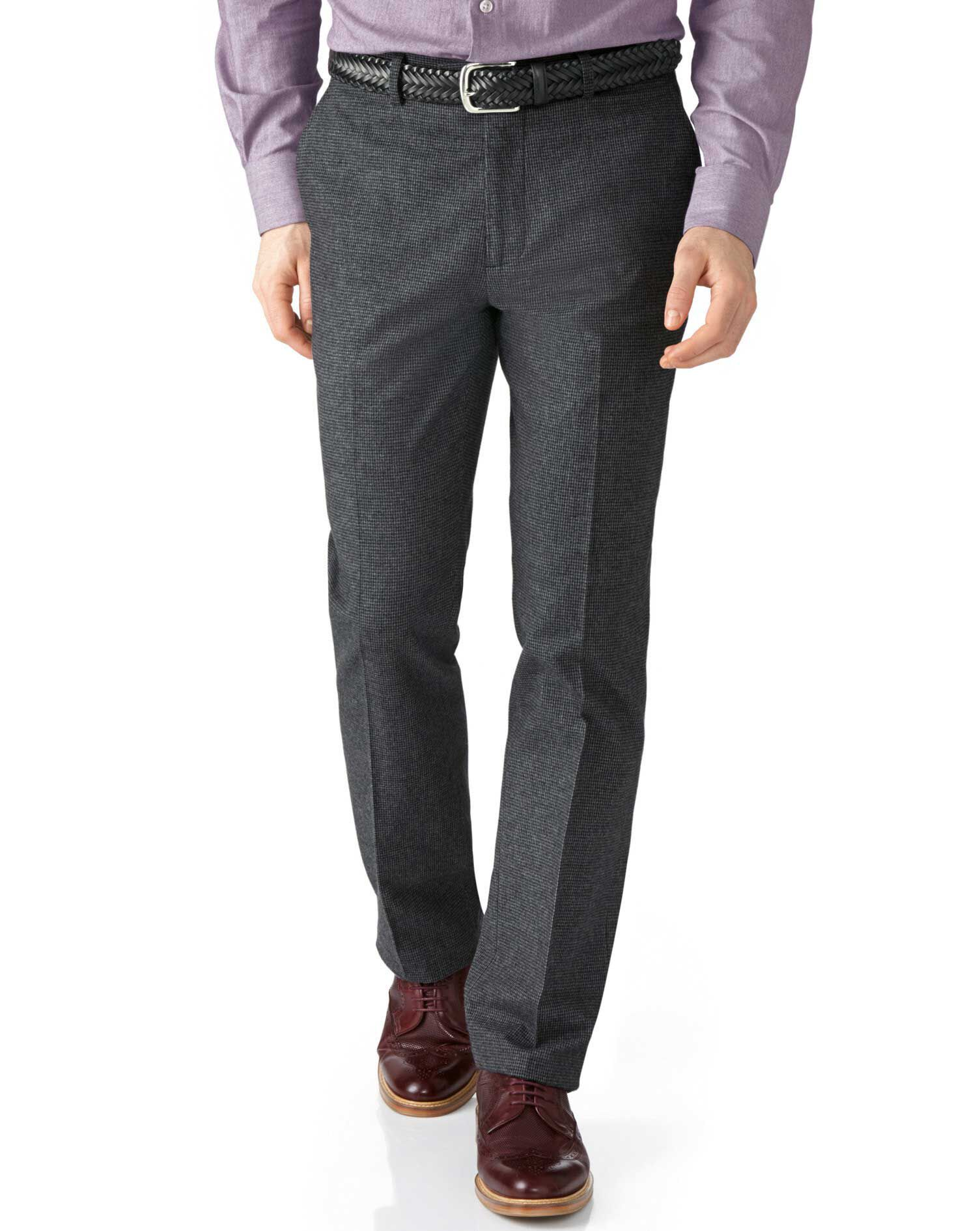 Grey Slim Fit Cotton Flannel Trouser Size W32 L34 by Charles Tyrwhitt