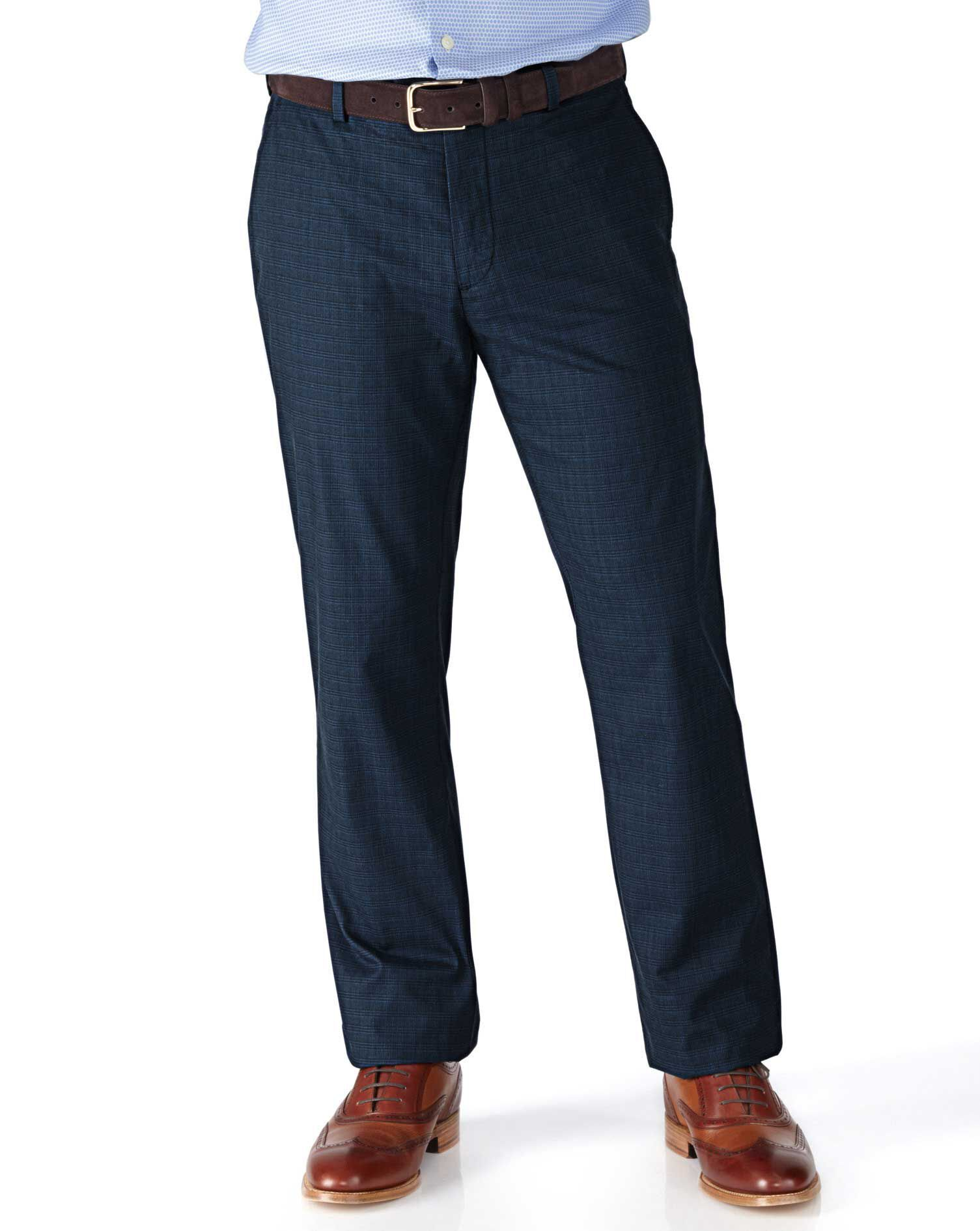 Indigo Classic Fit Prince Of Wales Check Stretch Trousers Size W32 L32 by Charles Tyrwhitt