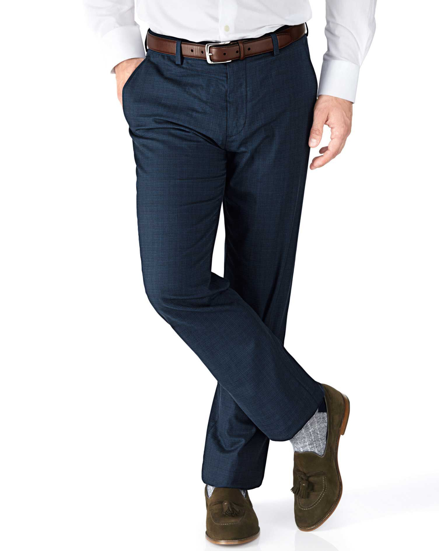 Indigo Slim Fit Prince Of Wales Check Stretch Trousers Size W38 L32 by Charles Tyrwhitt