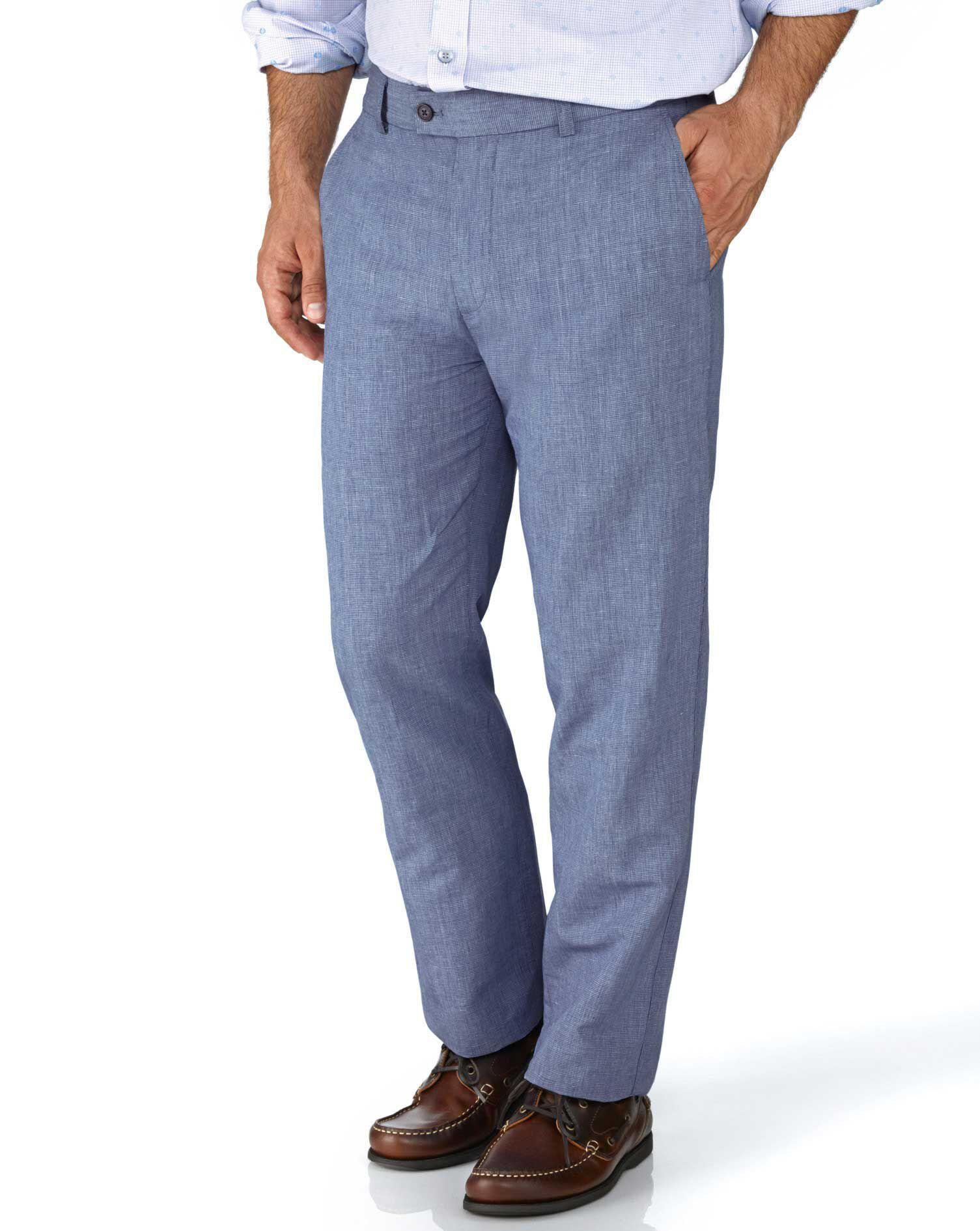 Blue Slim Fit Cotton Linen Trousers Size W30 L32 by Charles Tyrwhitt