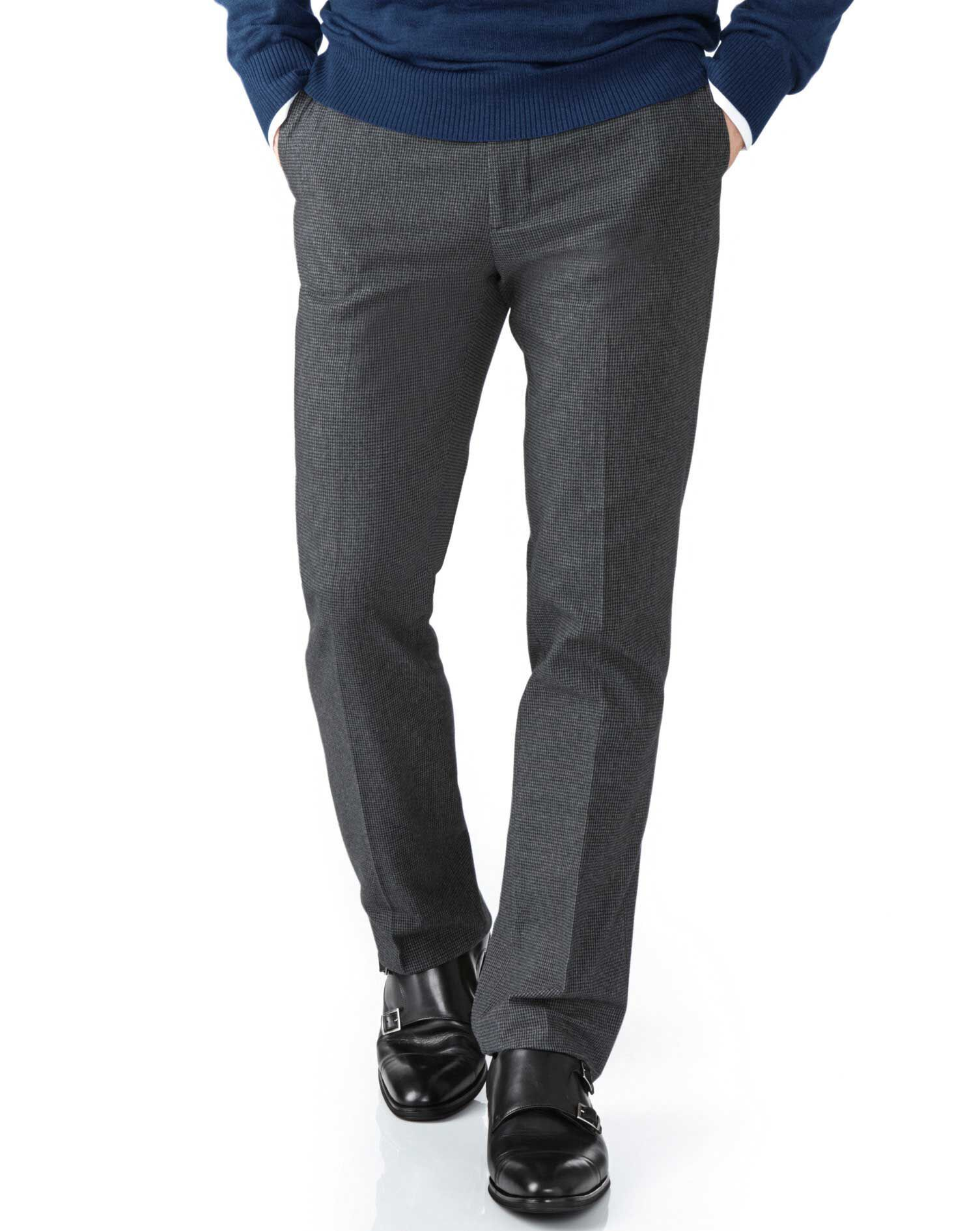 Grey Classic Fit Cotton Flannel Trouser Size W34 L32 by Charles Tyrwhitt